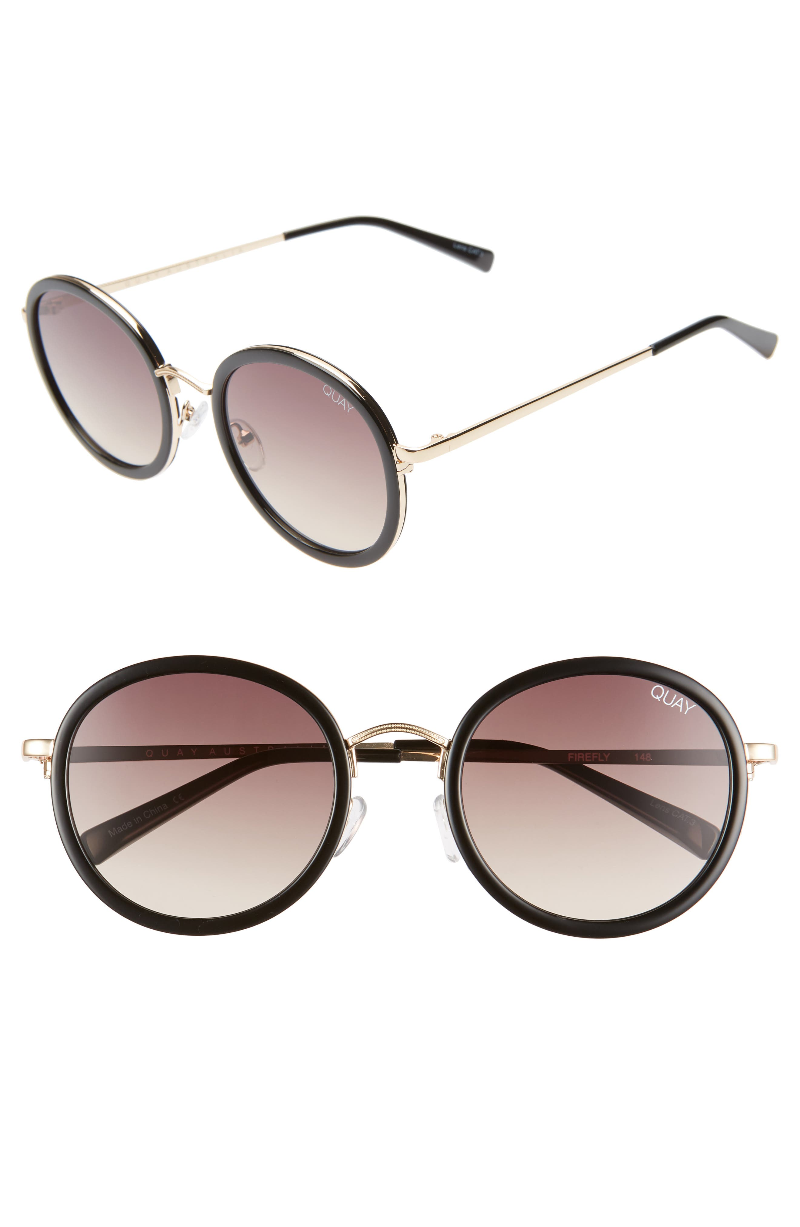 Quay Australia Firefly 52Mm Round Sunglasses - Black/ Brown