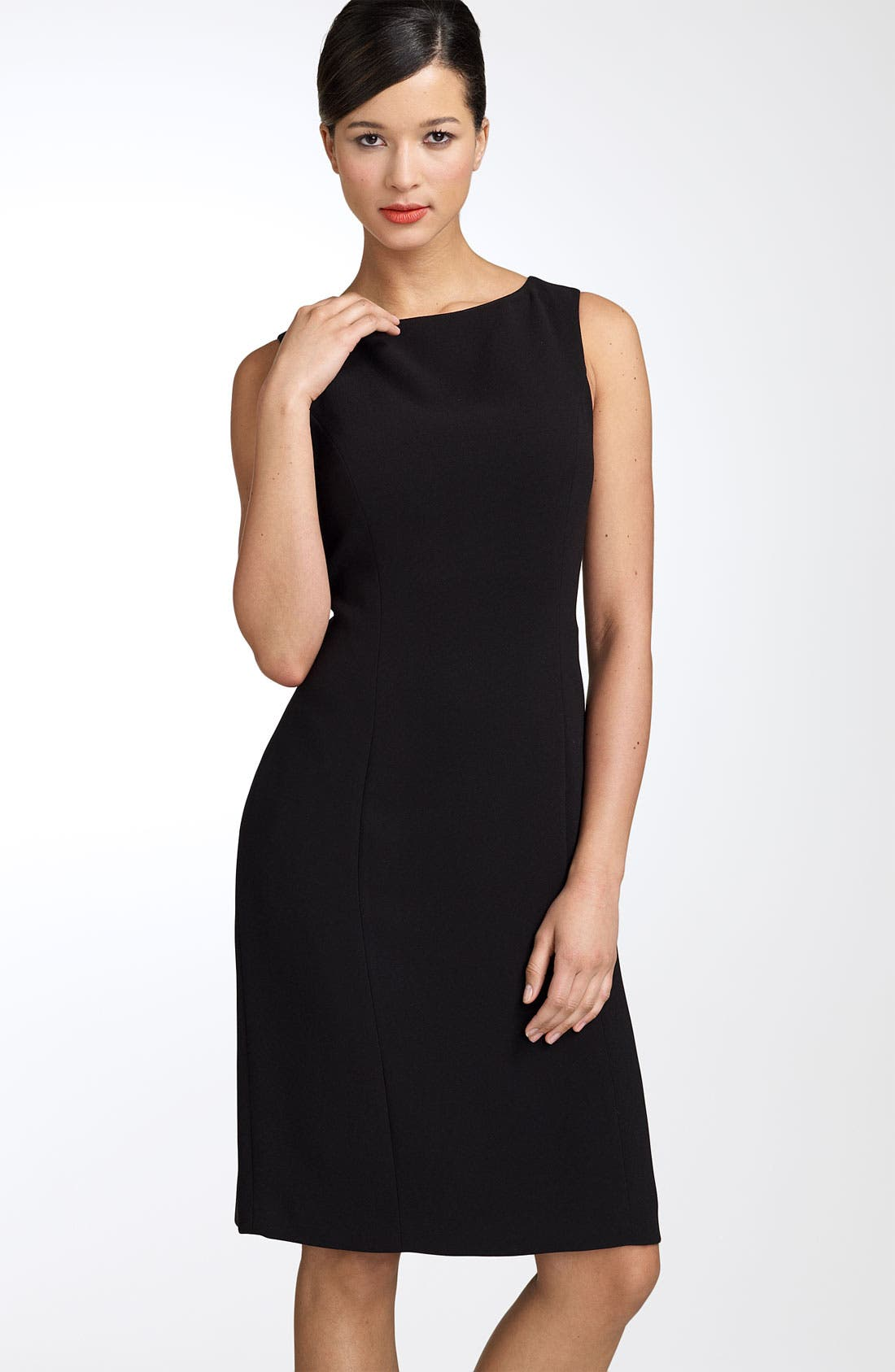 by Arthur S. Levine Crepe Sheath Dress,                             Main thumbnail 1, color,                             BLACK