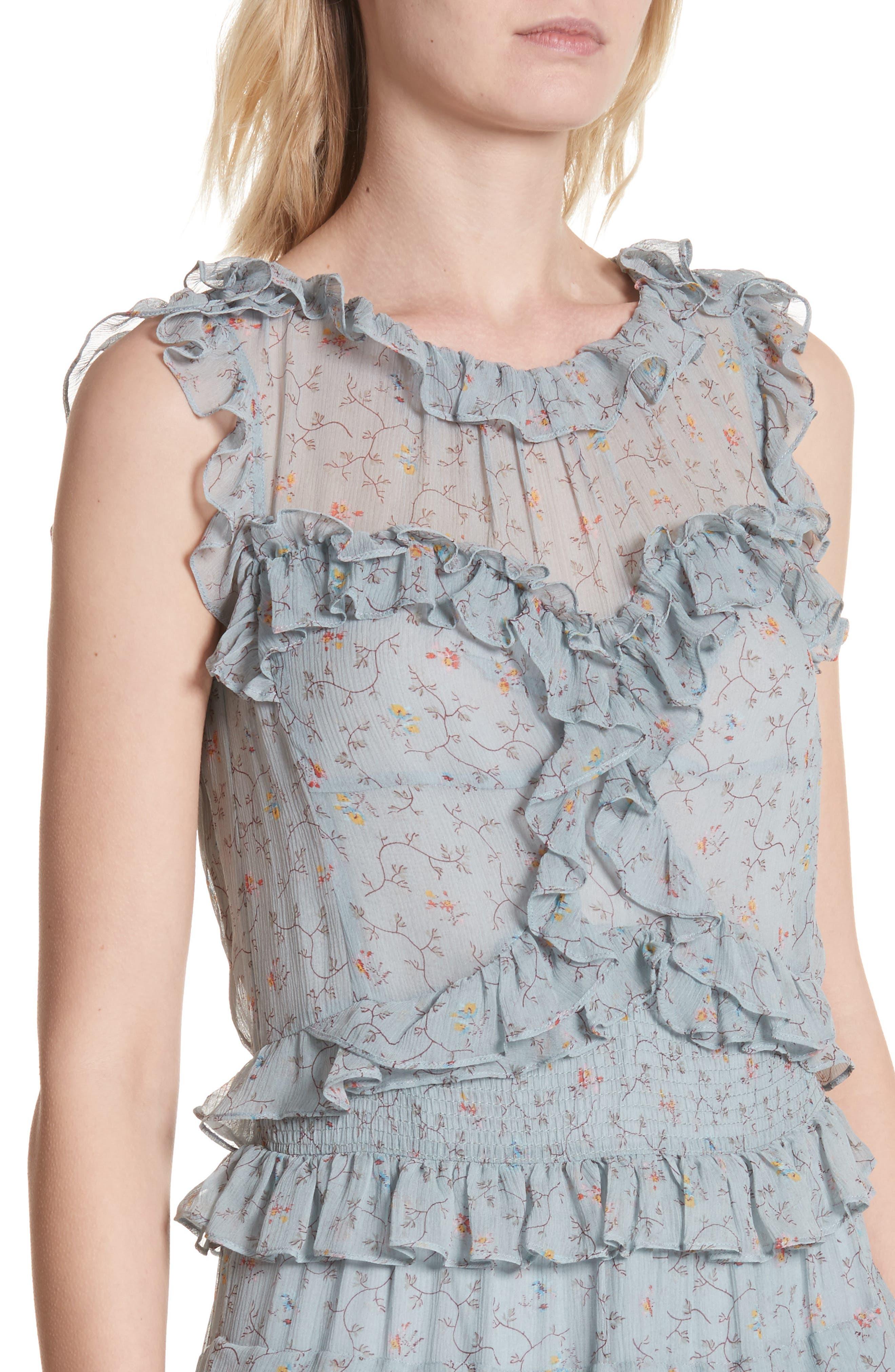 Floral Vine Ruffle Silk Dress,                             Alternate thumbnail 4, color,                             400