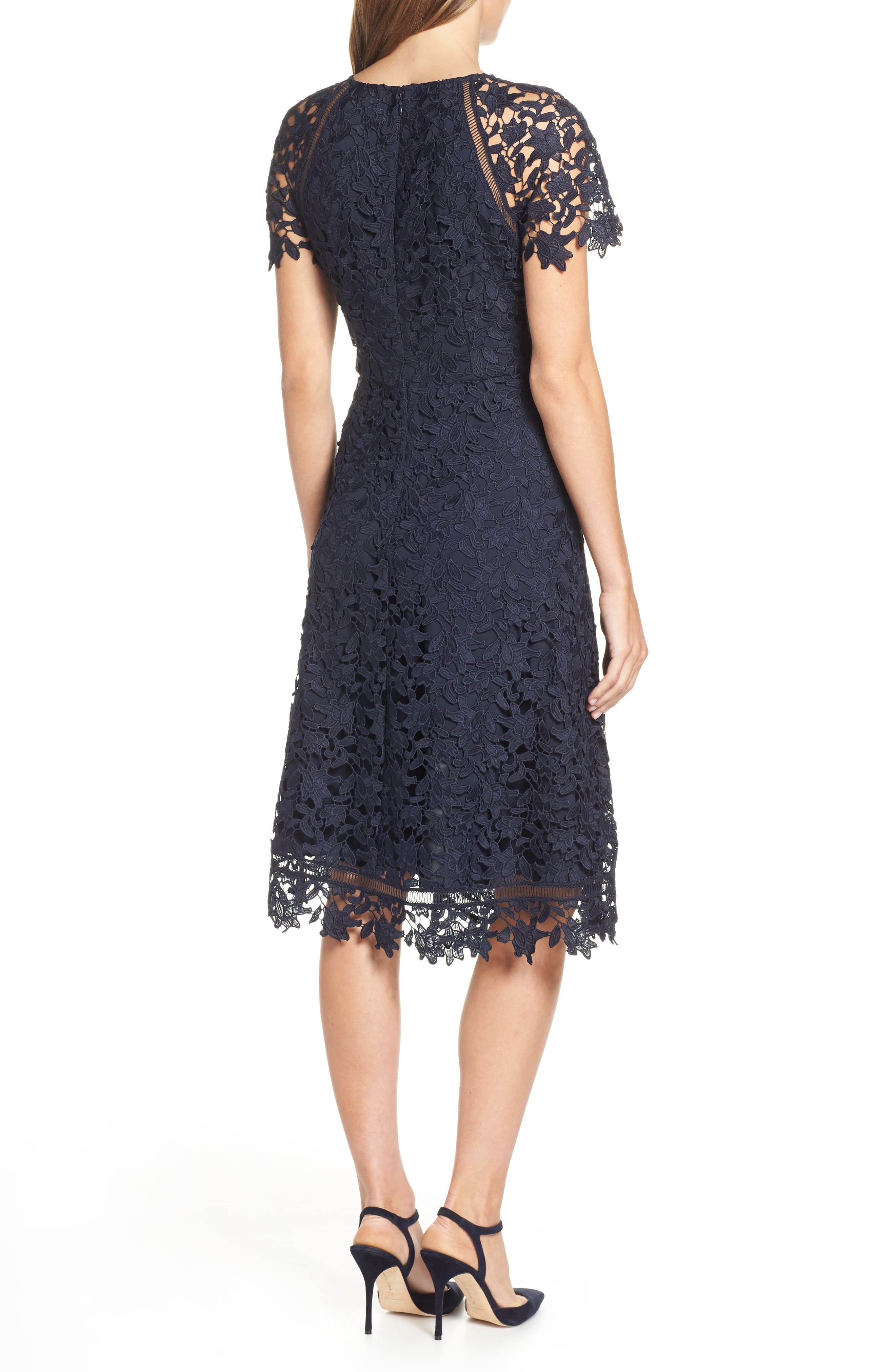 ELIZA J,                             Asymmetrical Lace Dress,                             Alternate thumbnail 2, color,                             NAVY