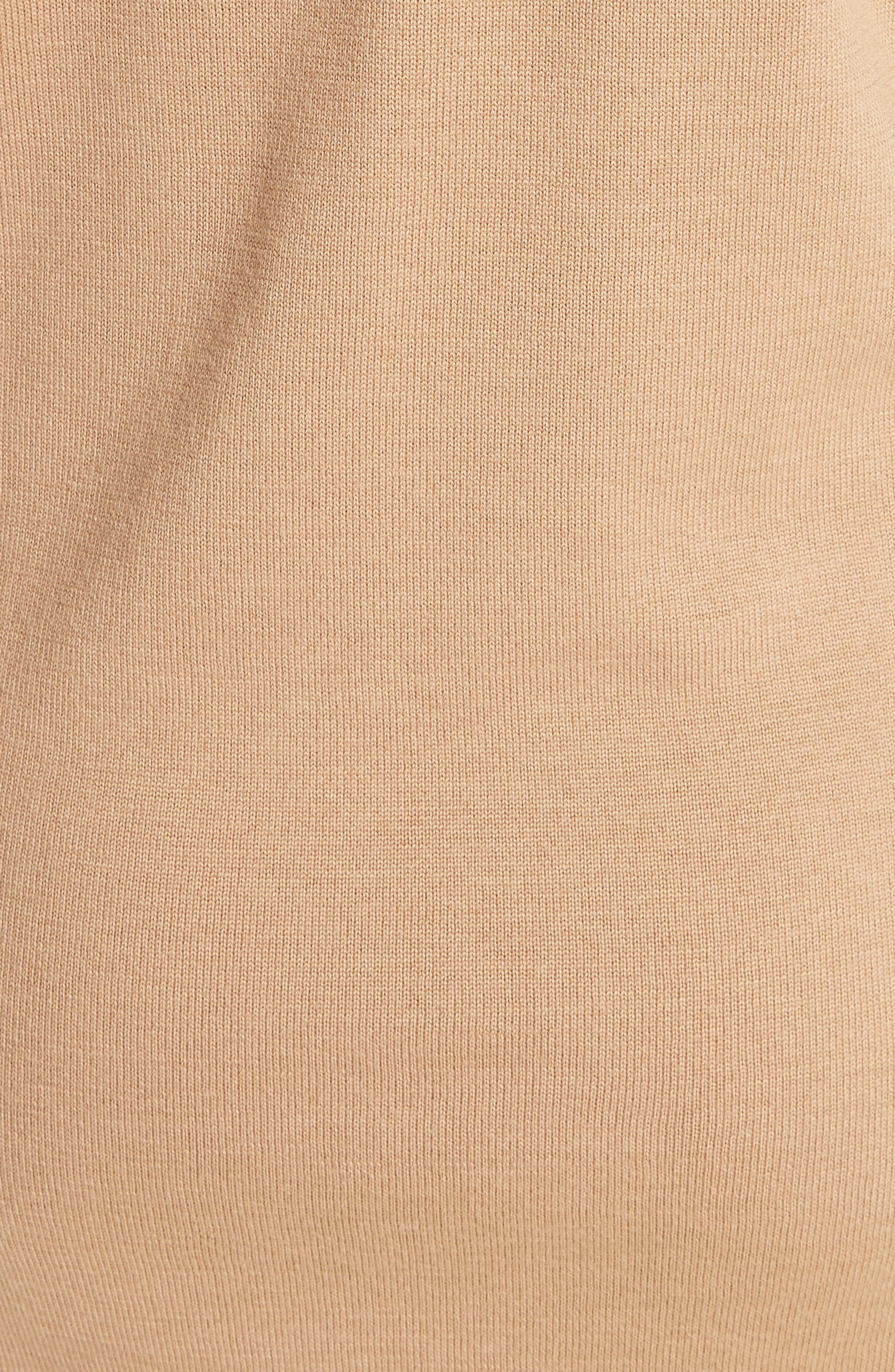 BURBERRY,                             Alewater Elbow Patch Merino Wool Dress,                             Alternate thumbnail 6, color,                             CAMEL