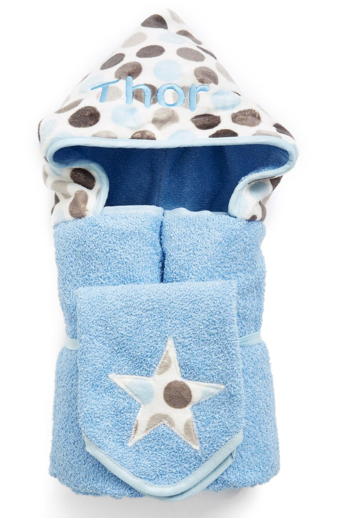 BIBZ N THINGZ,                             Personalized Hooded Towel,                             Main thumbnail 1, color,                             BLUE DOT