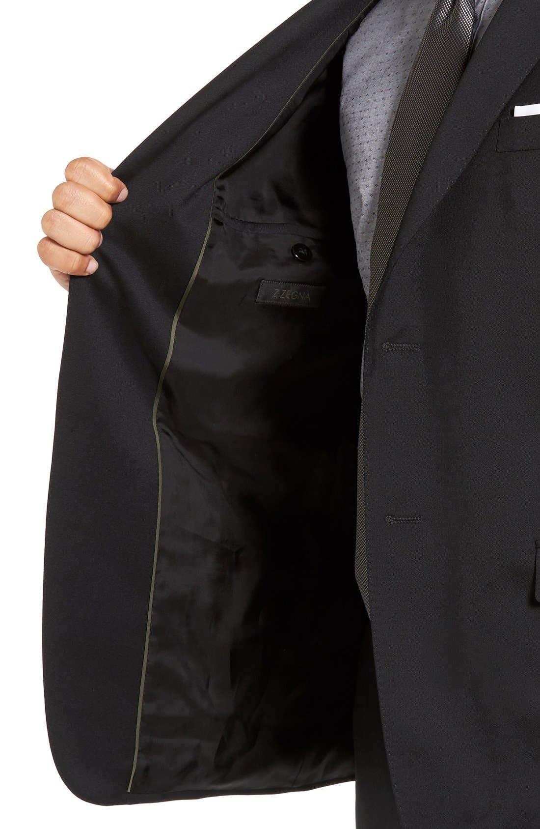 Drop 7 Trim Fit Wool Suit,                             Alternate thumbnail 7, color,                             001