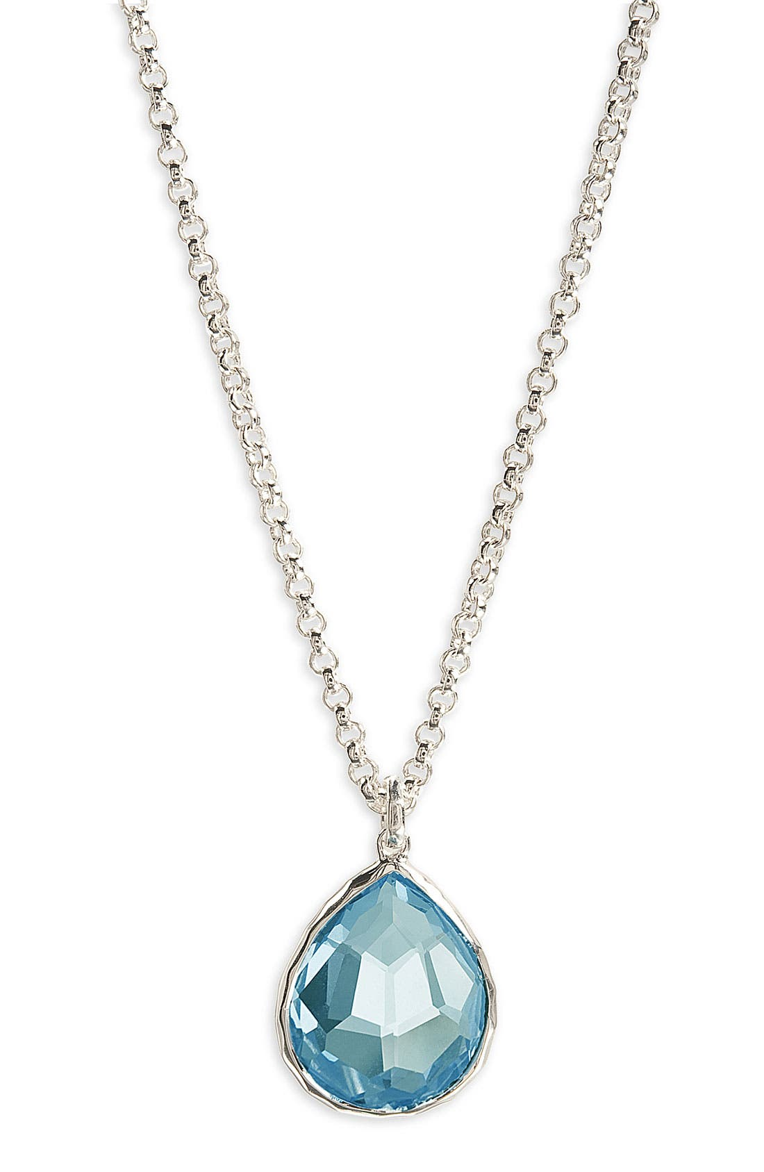 'Wonderland' Mini Teardrop Pendant Necklace,                             Main thumbnail 1, color,                             STERLING SILVER- BLUE TOPAZ
