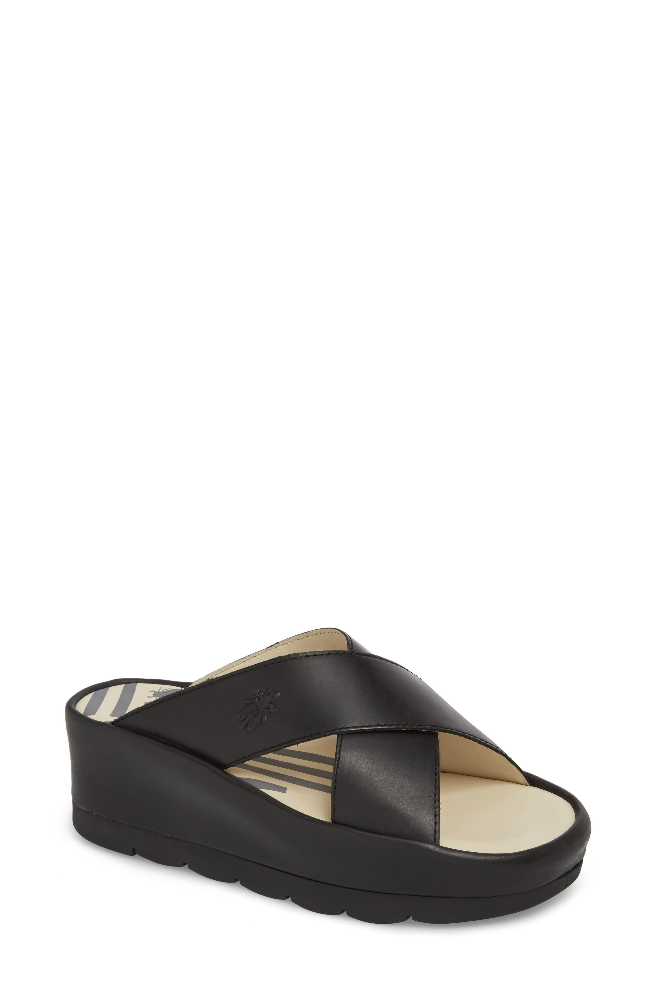 Begs Platform Slide Sandal,                         Main,                         color, BLACK RUG LEATHER