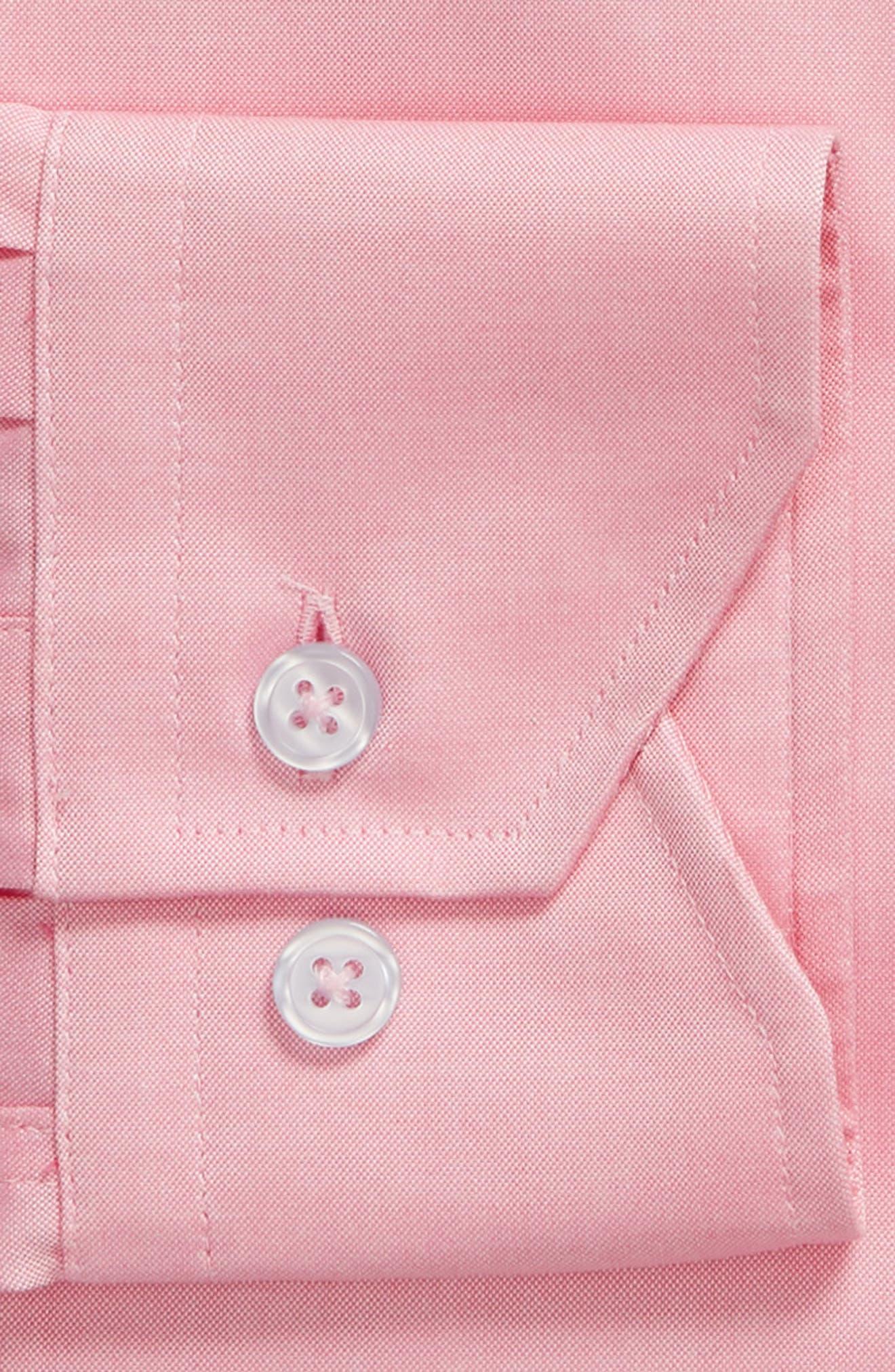 Trim Fit Solid Dress Shirt,                             Alternate thumbnail 6, color,                             PINK