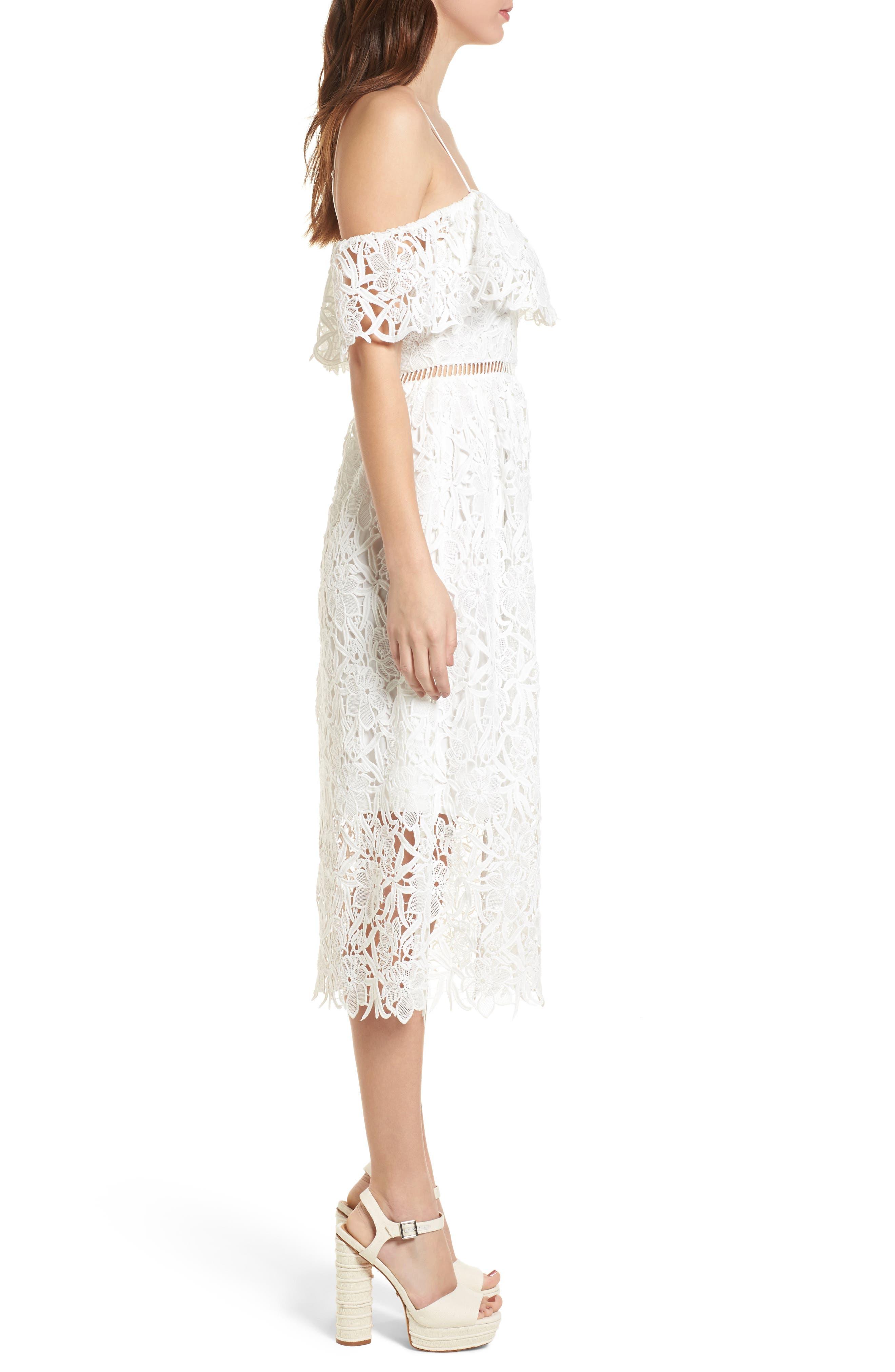 Lace Off the Shoulder Midi Dress,                             Alternate thumbnail 3, color,                             100