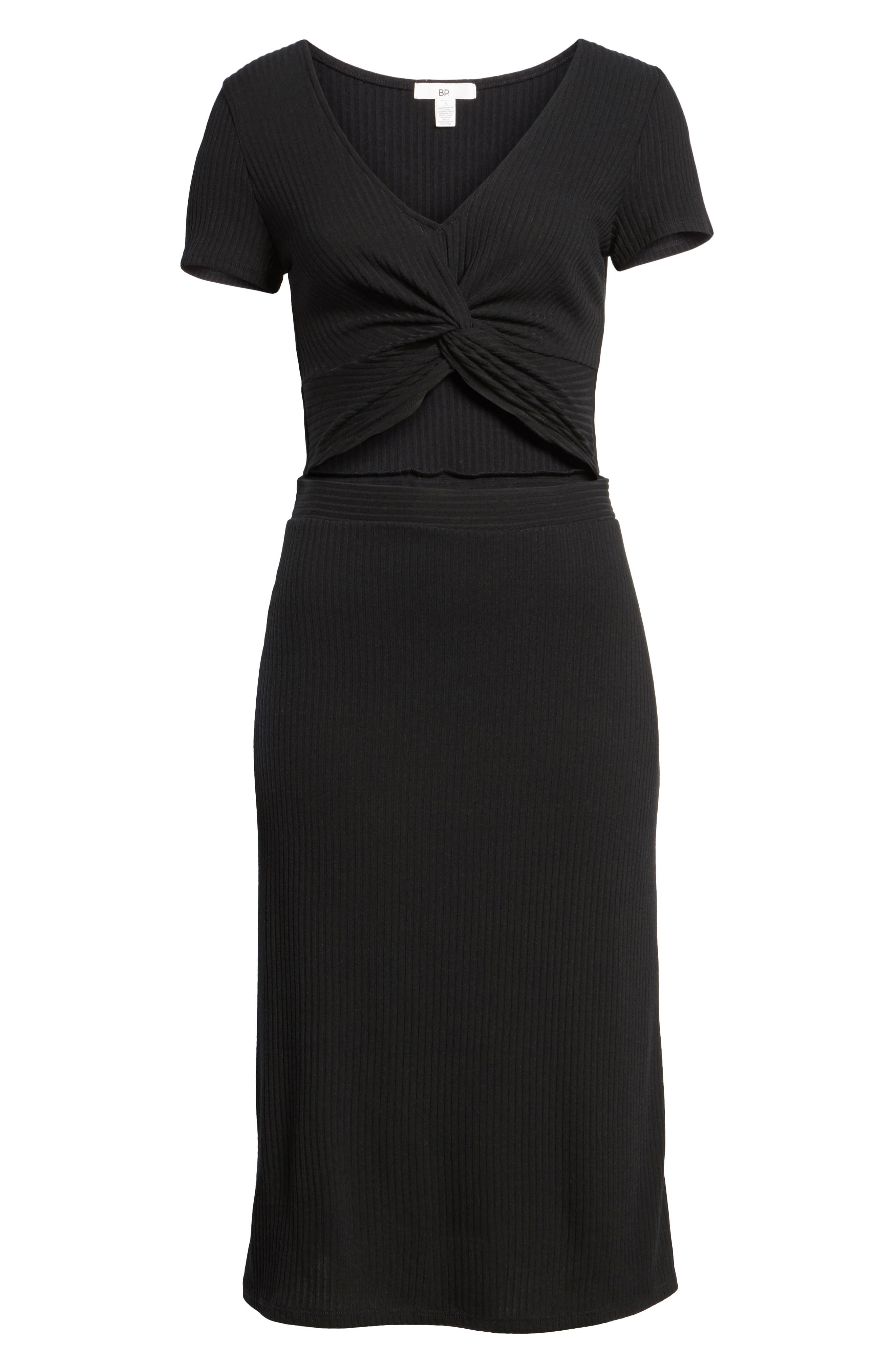 Twist Front Midi Dress,                             Alternate thumbnail 6, color,                             001