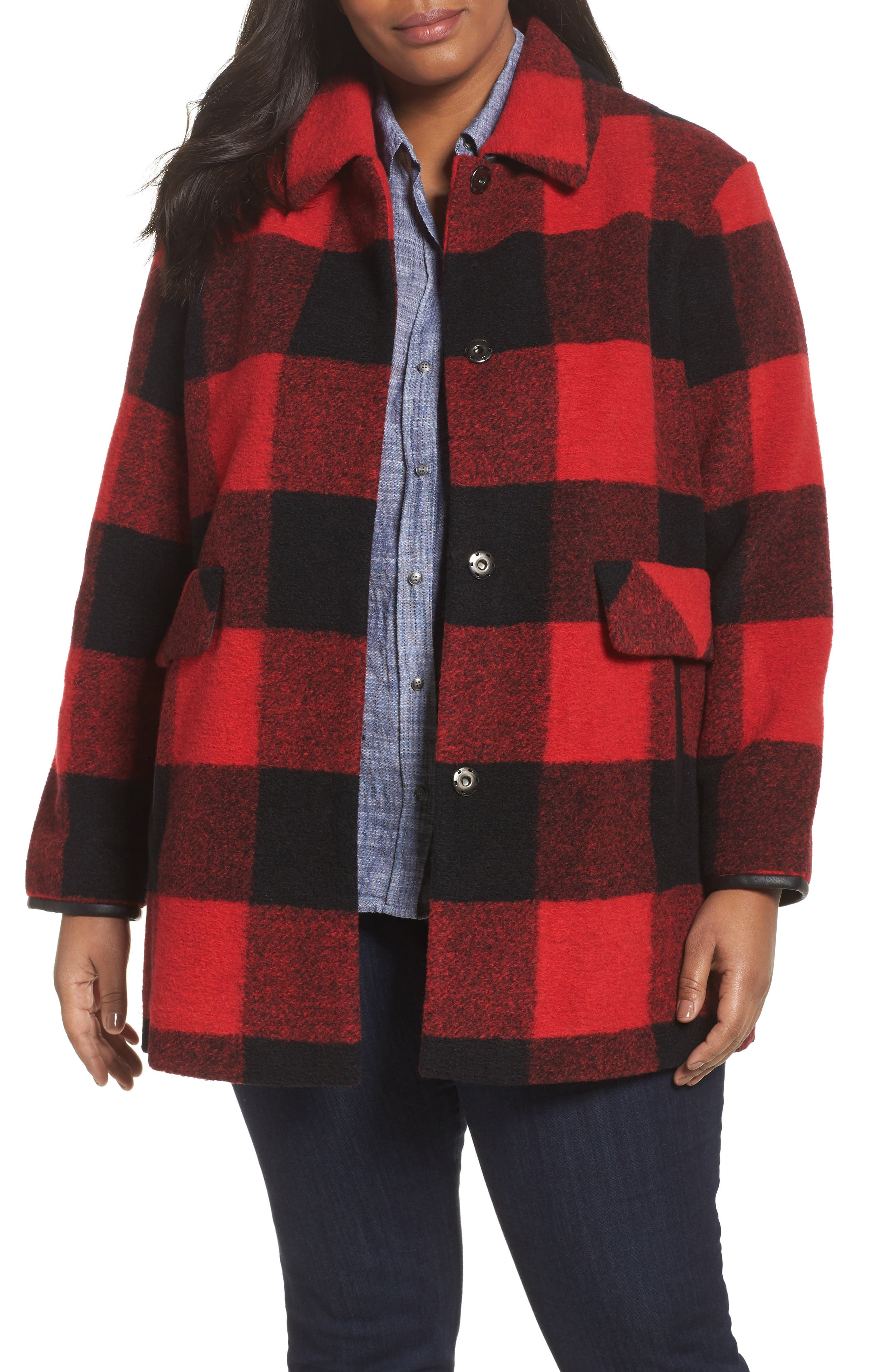 Paul Bunyan Plaid Wool Blend Barn Coat,                             Main thumbnail 2, color,