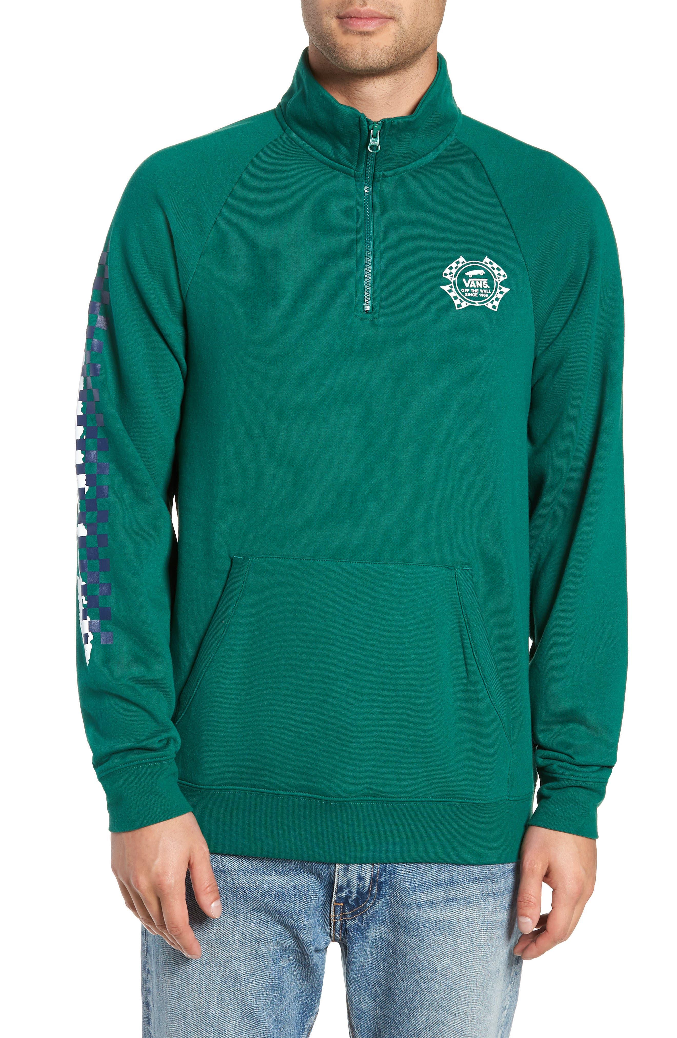 Vans Check It Quarter Zip Pullover, Green