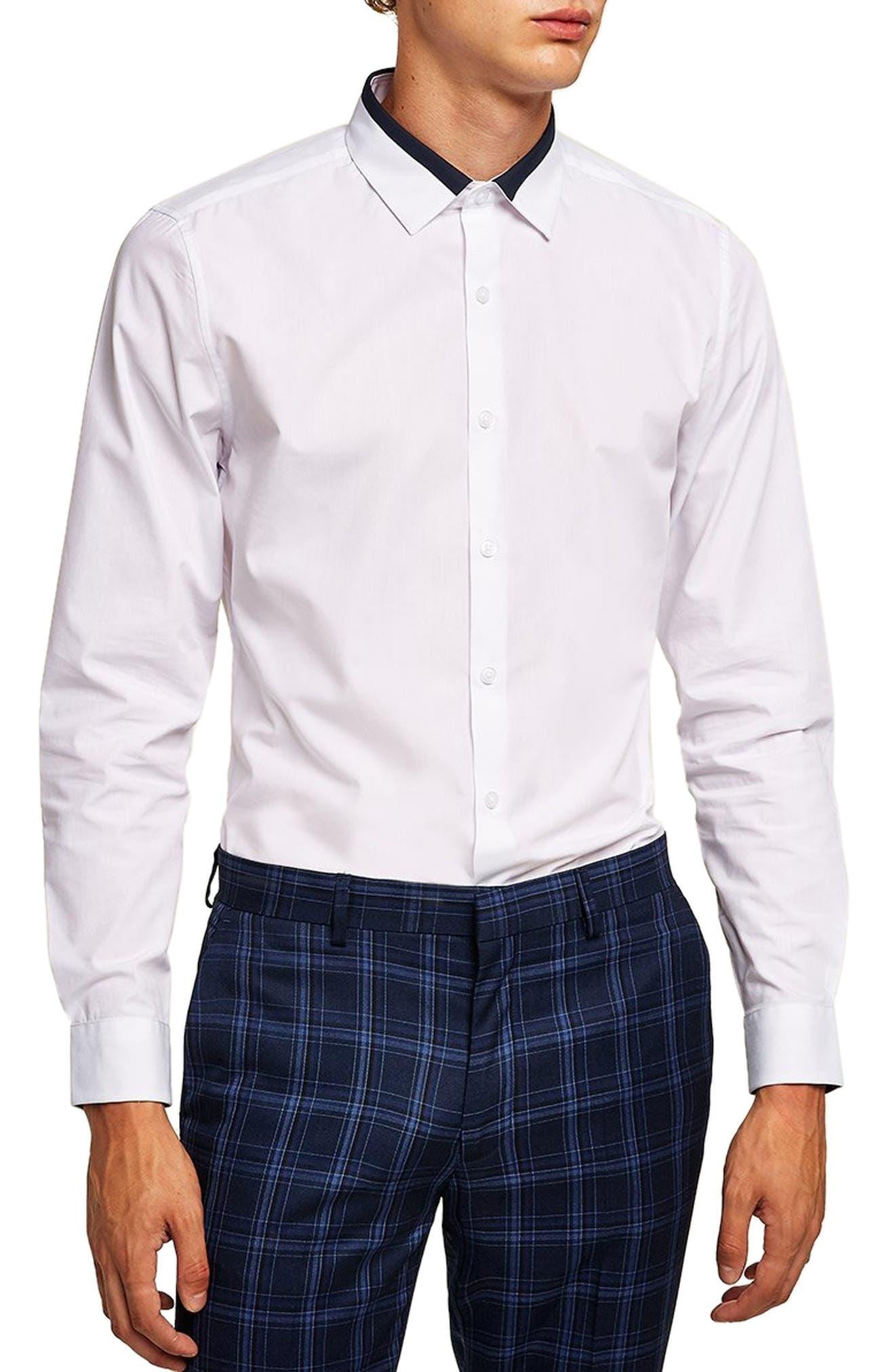 Slim Fit Panel Collar Shirt,                         Main,                         color, 100