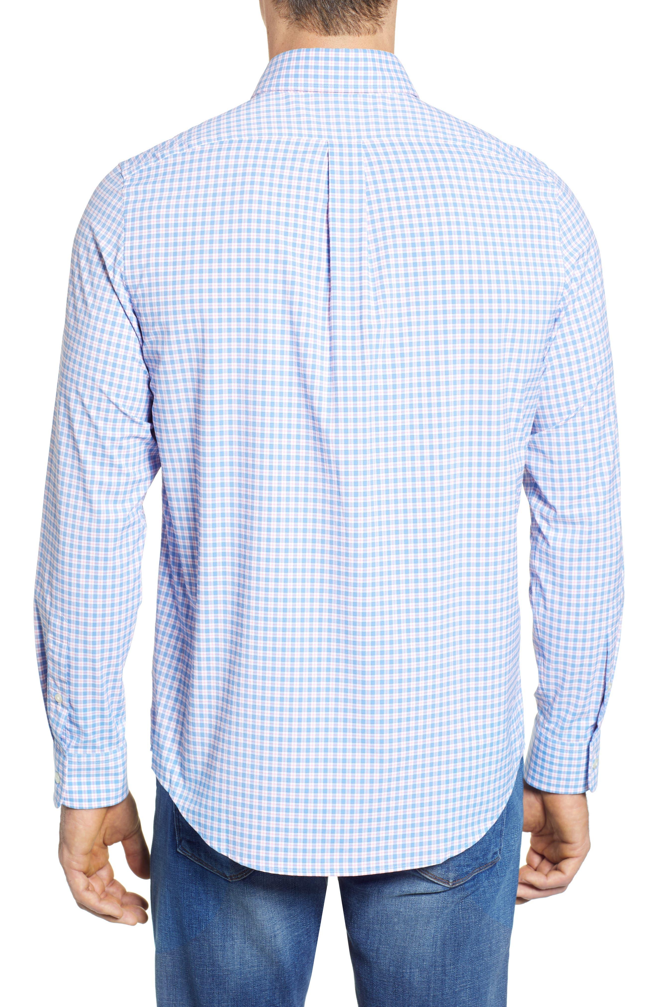 Oyster Pond Slim Fit Plaid Sport Shirt,                             Alternate thumbnail 2, color,                             OCEAN BREEZE