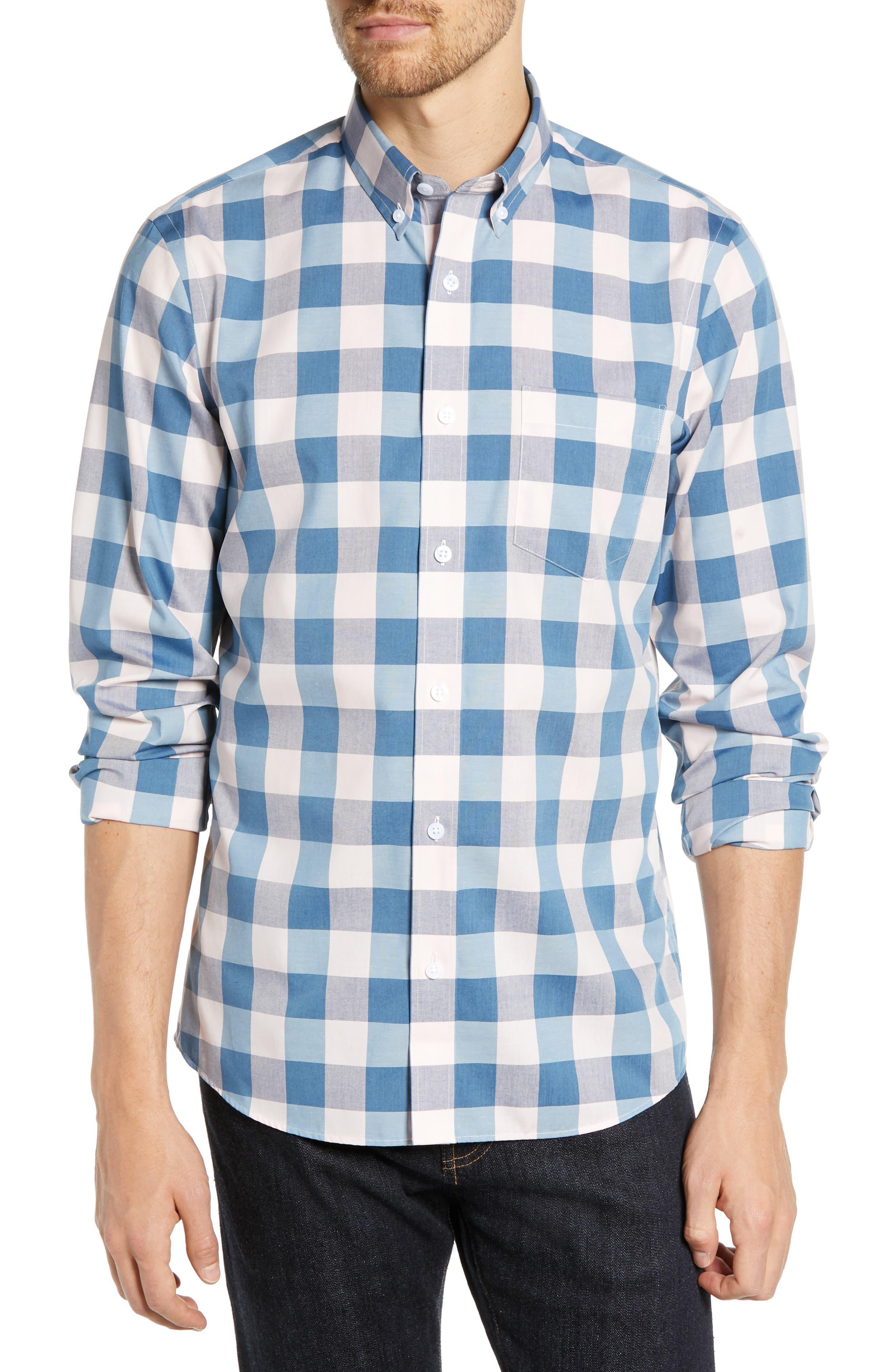 Nordstrom Shop Slim Fit Non-Iron Buffalo Check Sport Shirt, Blue
