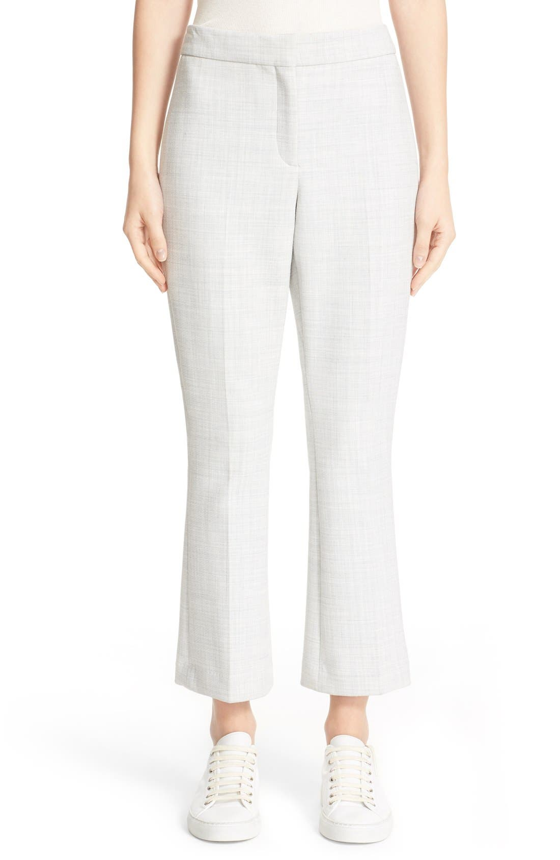 THEORY,                             'Erstina Pioneer' Crop Flare Leg Trousers,                             Main thumbnail 1, color,                             050