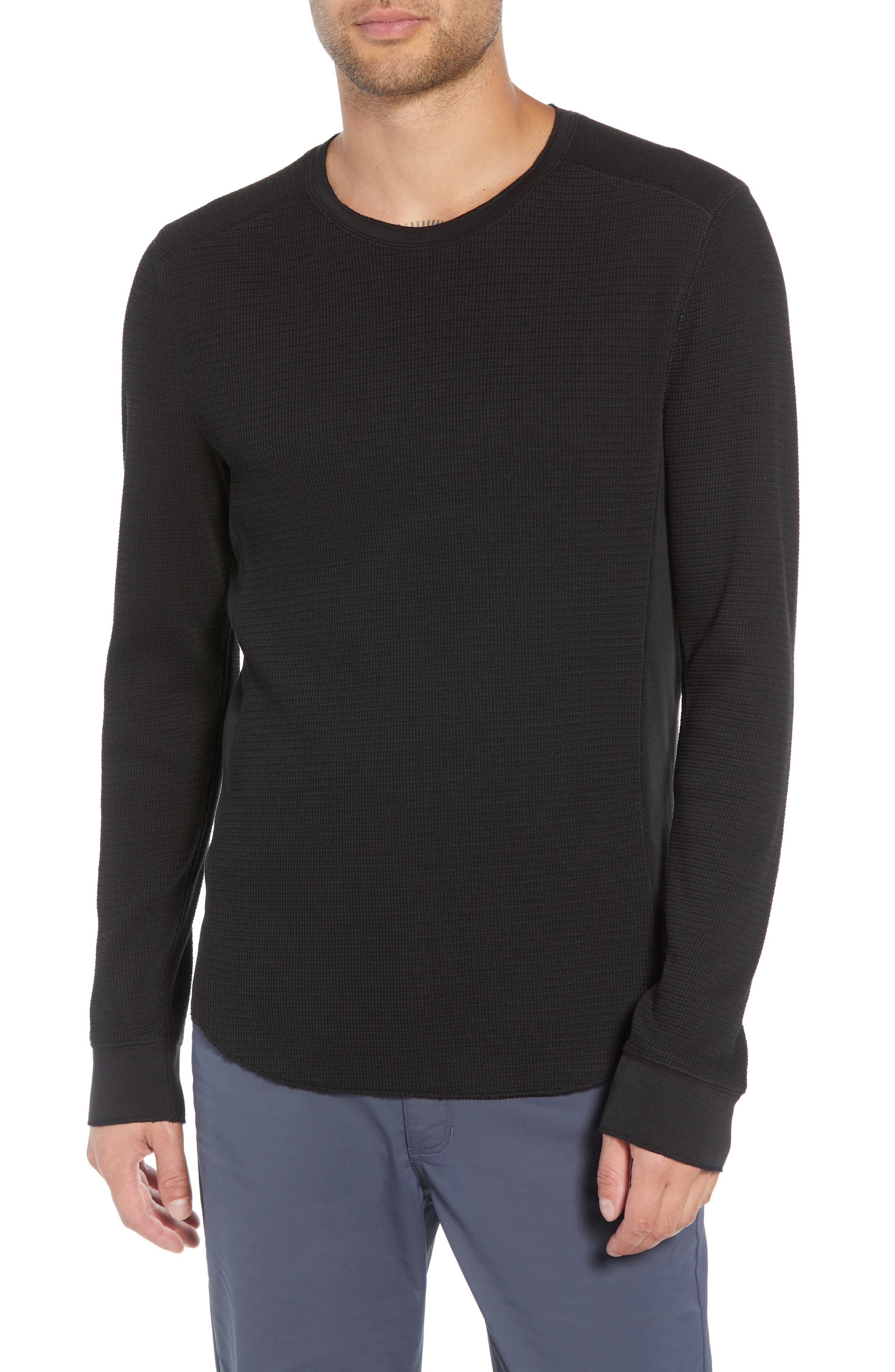 Regular Fit Waffle Knit T-Shirt,                         Main,                         color, BLACK