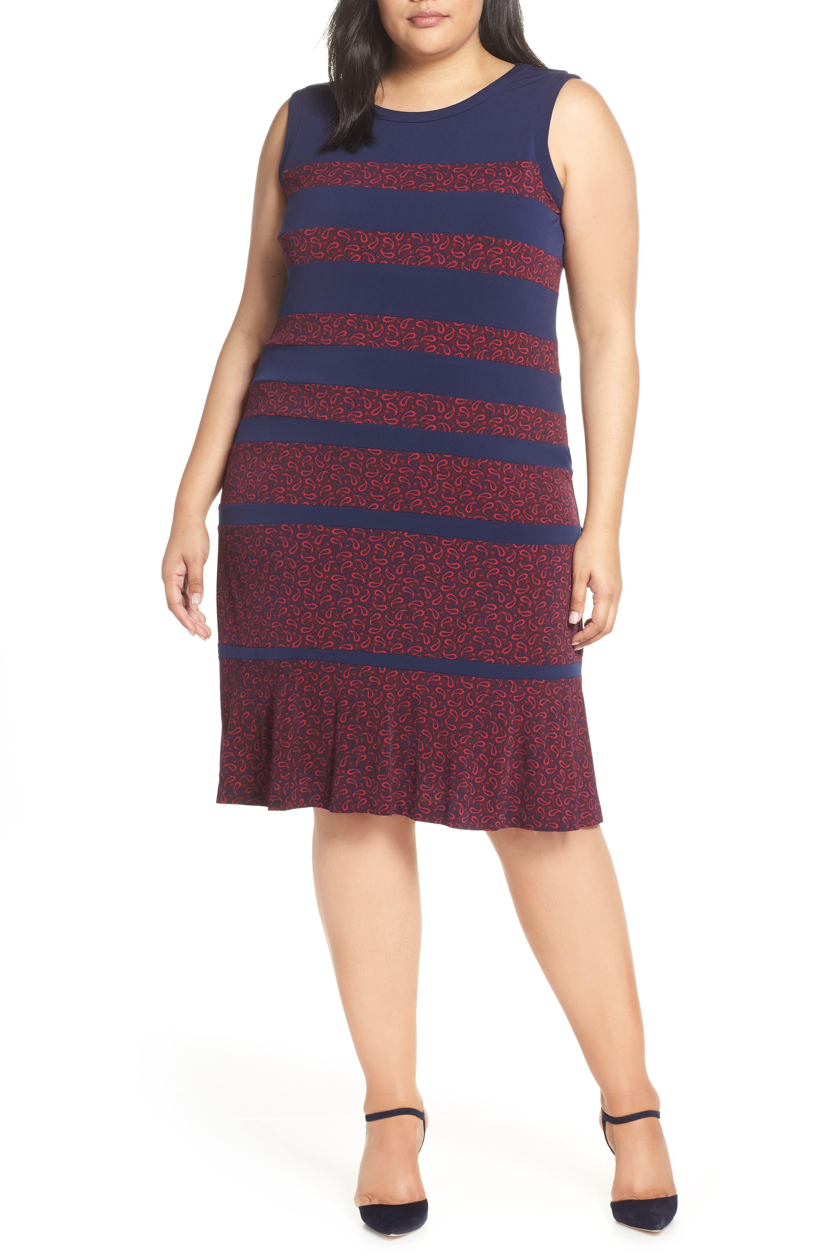 Plus Size Michael Michael Kors Paisley Paneled Dress, Blue