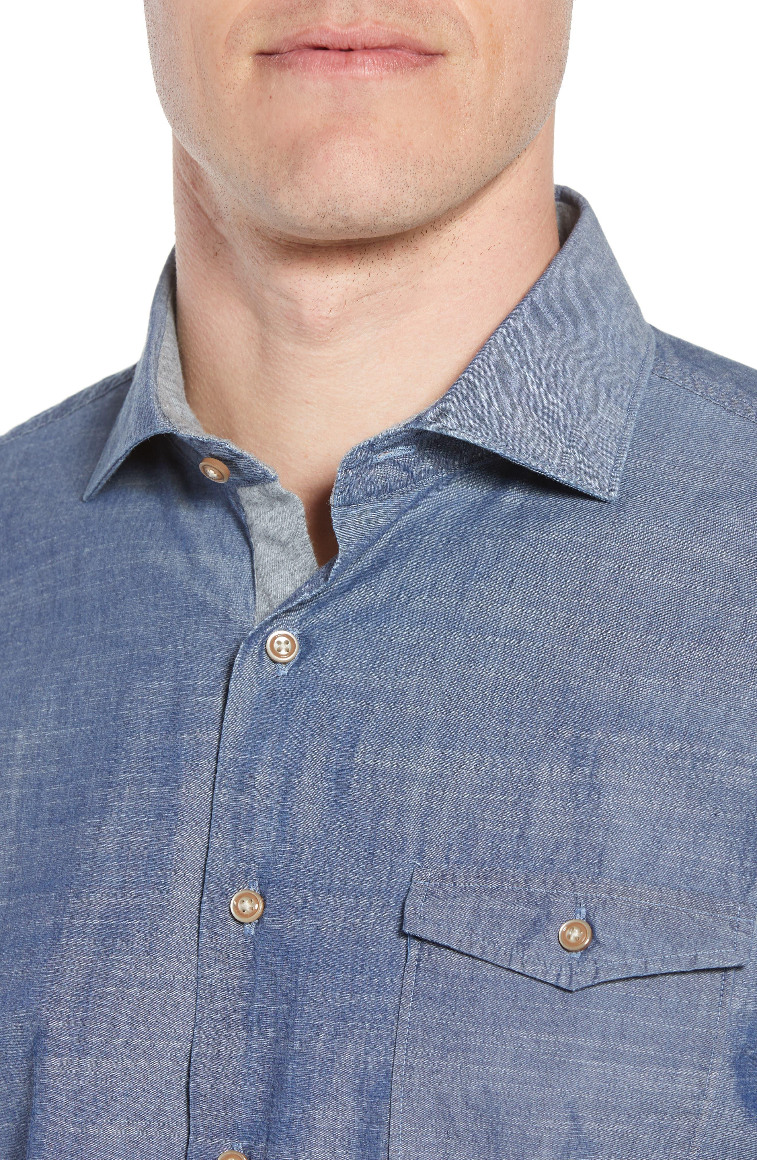 Lucas Regular Fit Chambray Sport Shirt,                             Alternate thumbnail 4, color,                             403