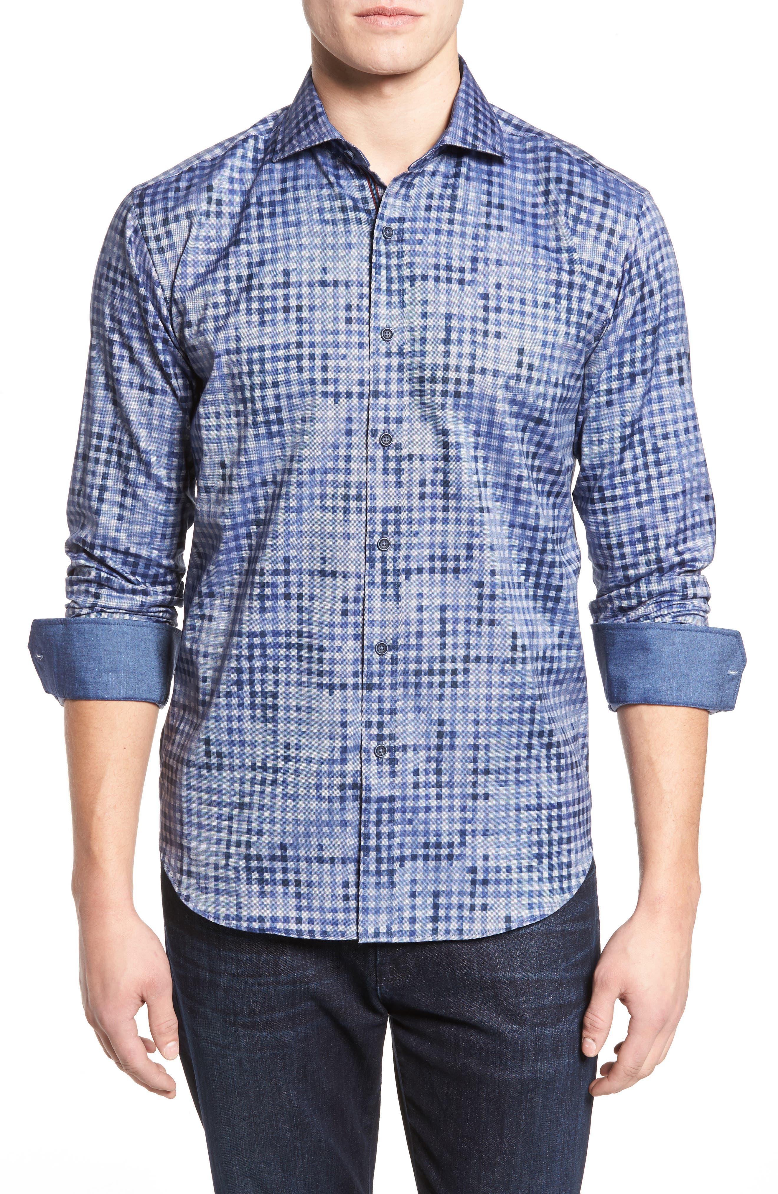 Shaped Fit Optic Print Sport Shirt,                         Main,                         color, 411