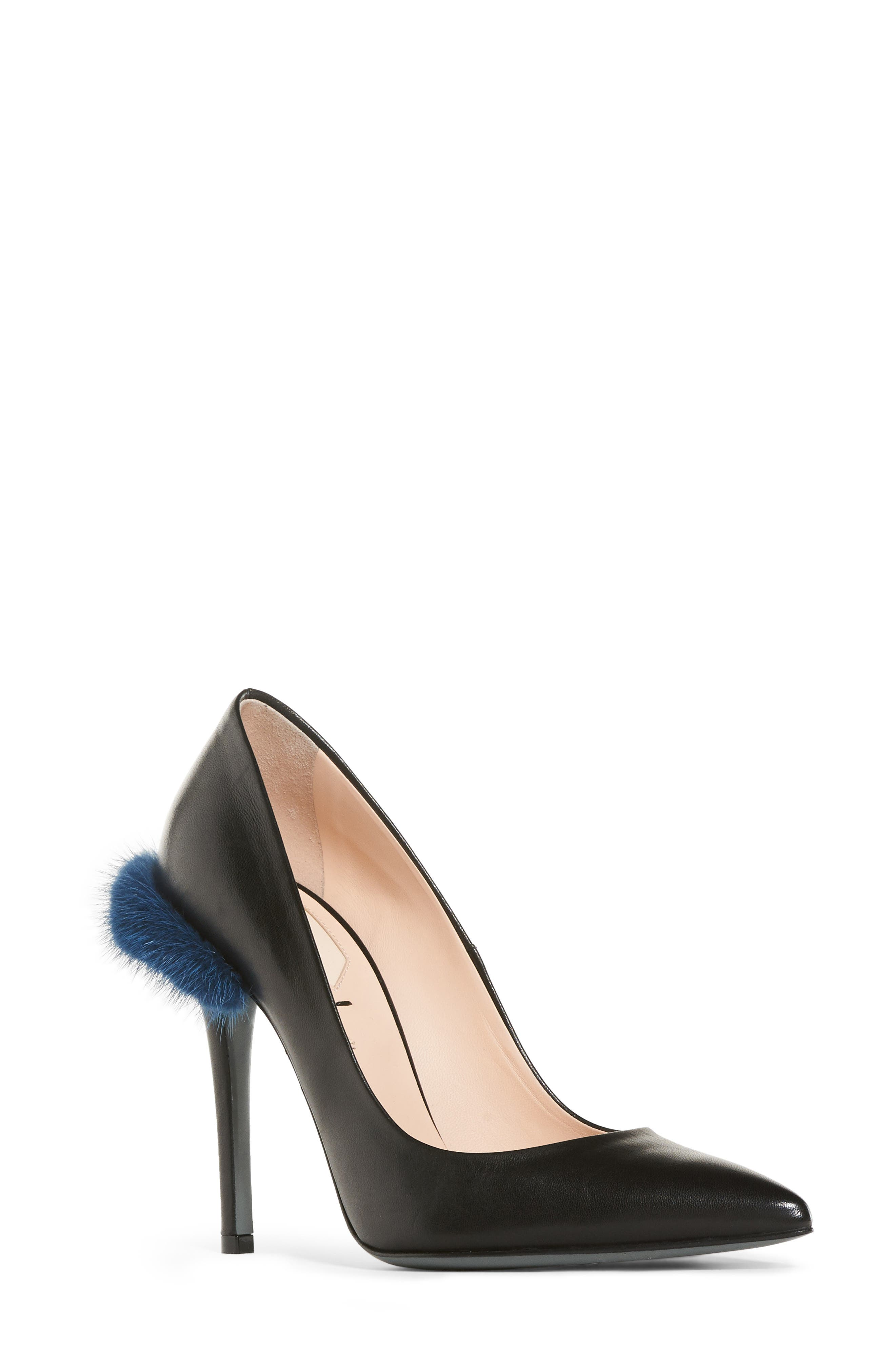 Duo Pointy Toe Pump with Genuine Mink Trim,                             Main thumbnail 1, color,                             009
