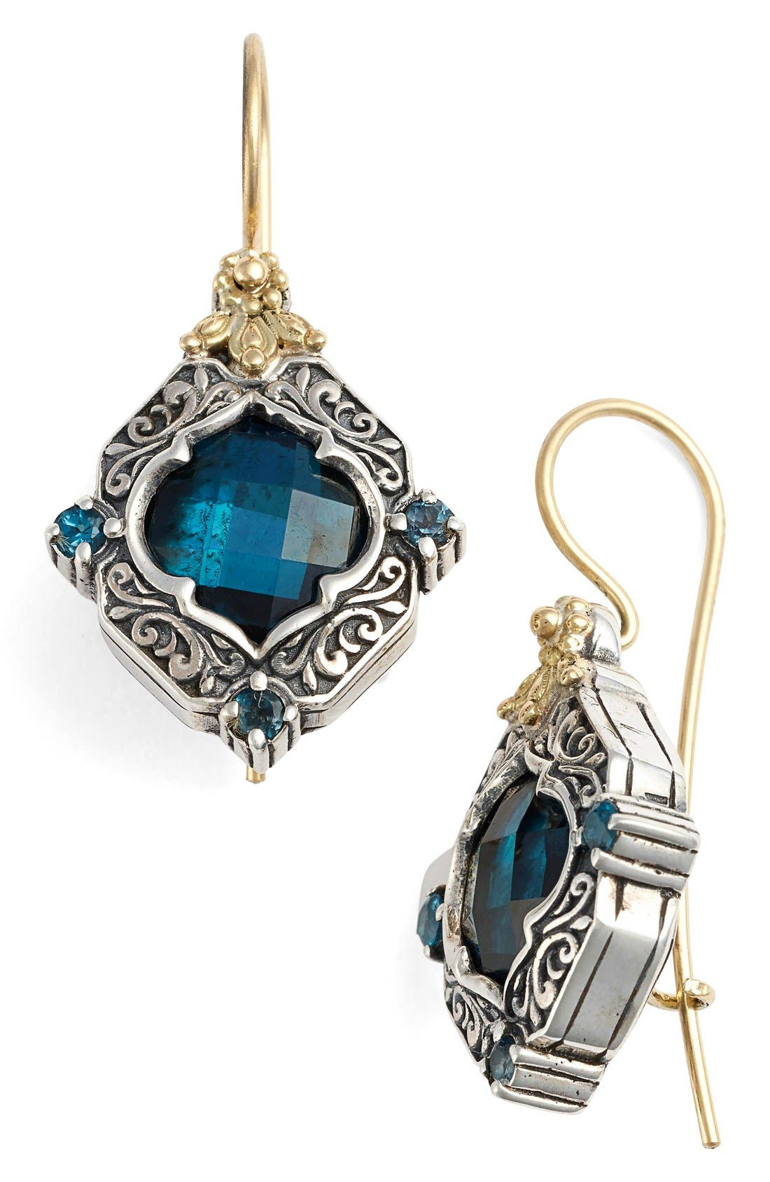 'Thalassa' Drop Earrings,                             Main thumbnail 1, color,                             SILVER/ GOLD/ BLUE TOPAZ