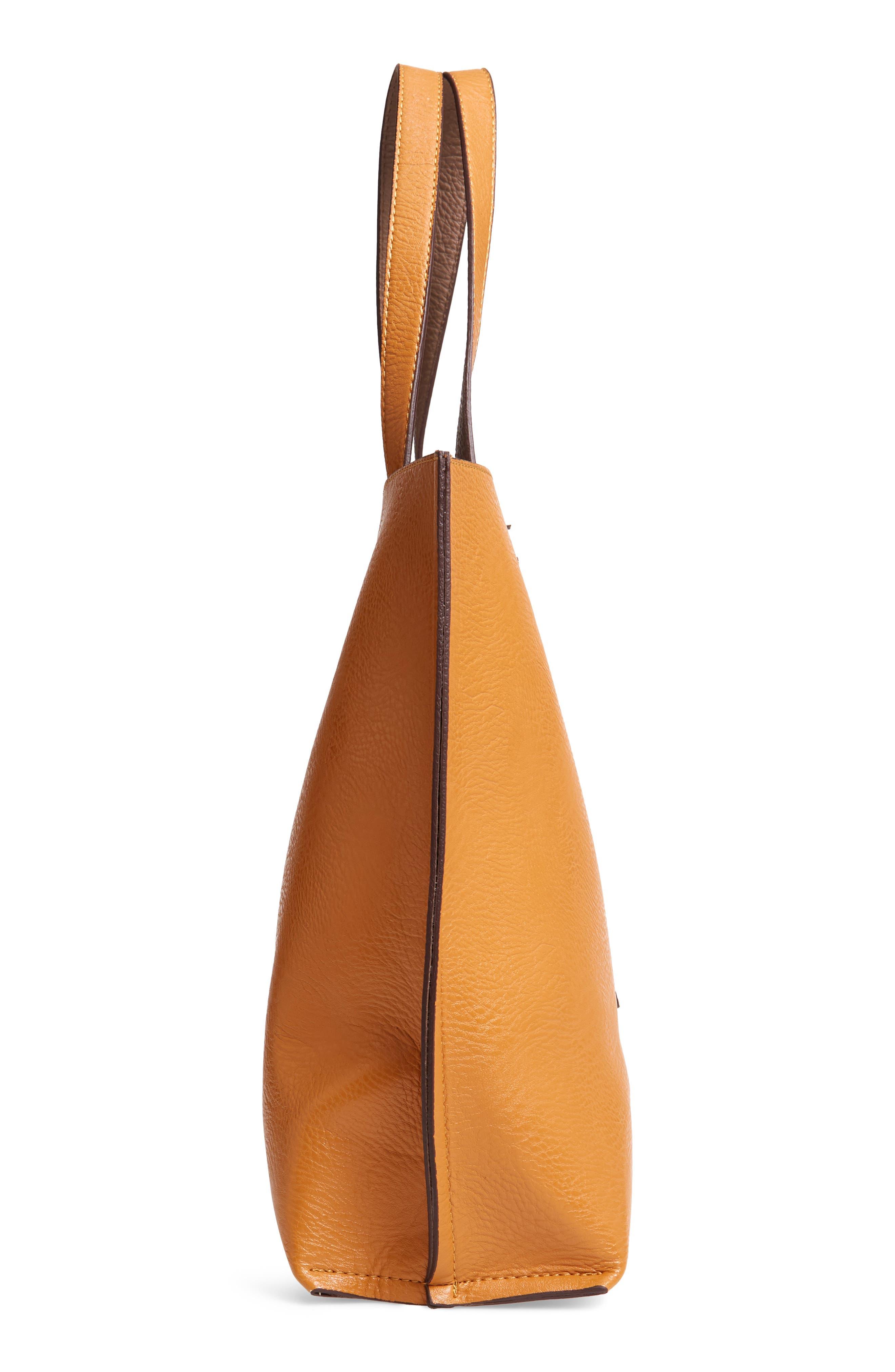 Reversible Faux Leather Tote & Wristlet,                             Alternate thumbnail 6, color,                             MUSTARD