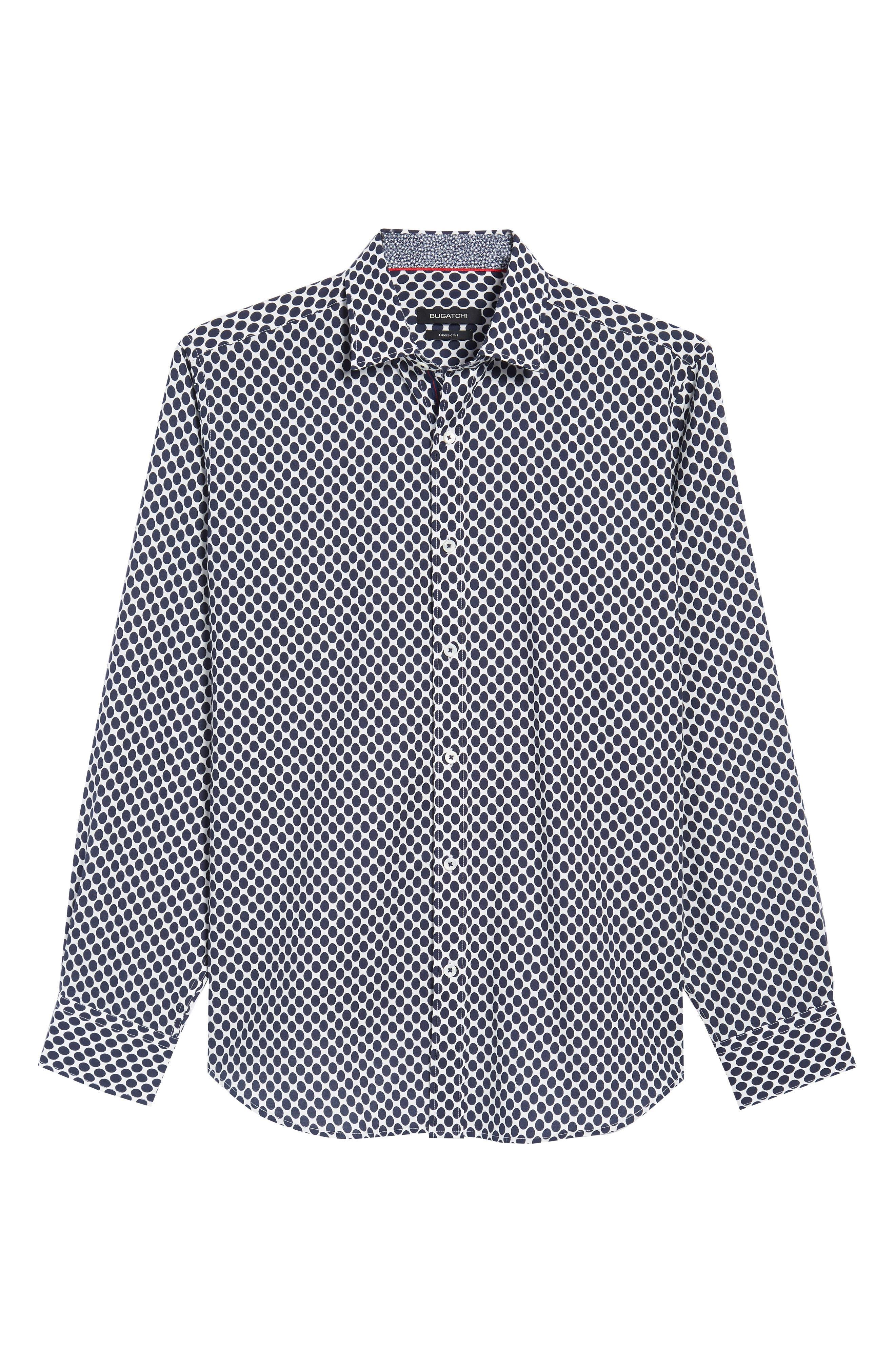 Classic Fit Woven Sport Shirt,                             Alternate thumbnail 6, color,                             NAVY