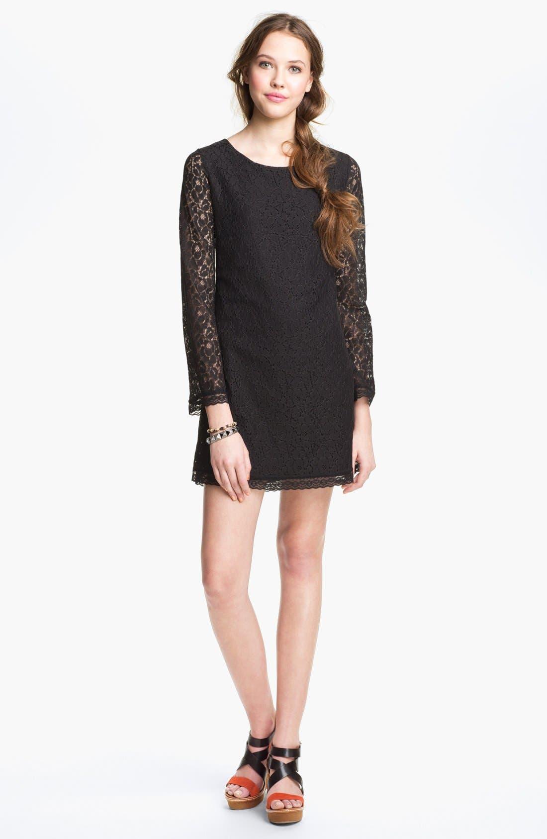 HIDDEN HEART Lace Shift Dress, Main, color, 001