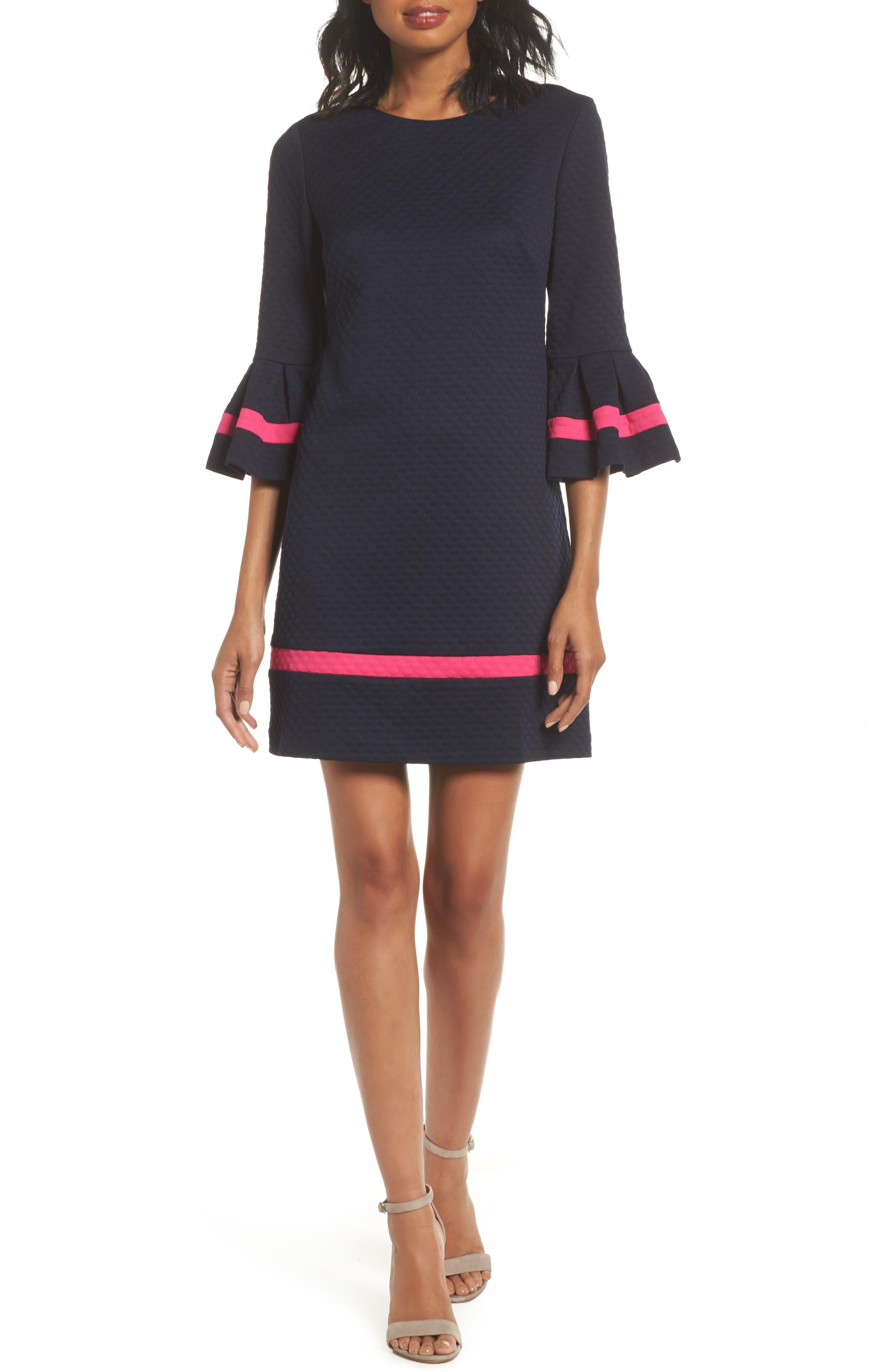 ELIZA J,                             Bell Sleeve Shift Dress,                             Main thumbnail 1, color,                             NAVY