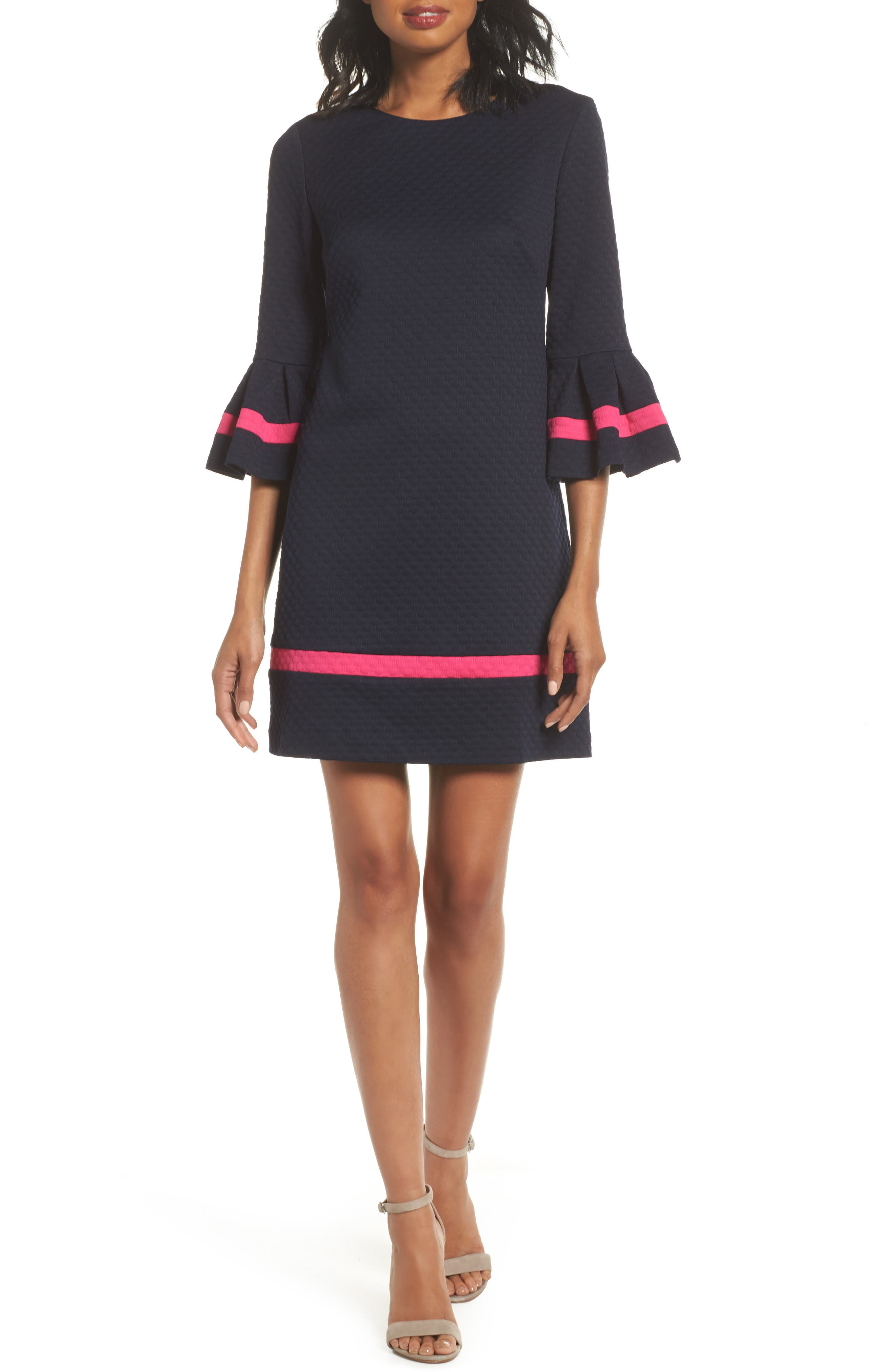 ELIZA J Bell Sleeve Shift Dress, Main, color, NAVY