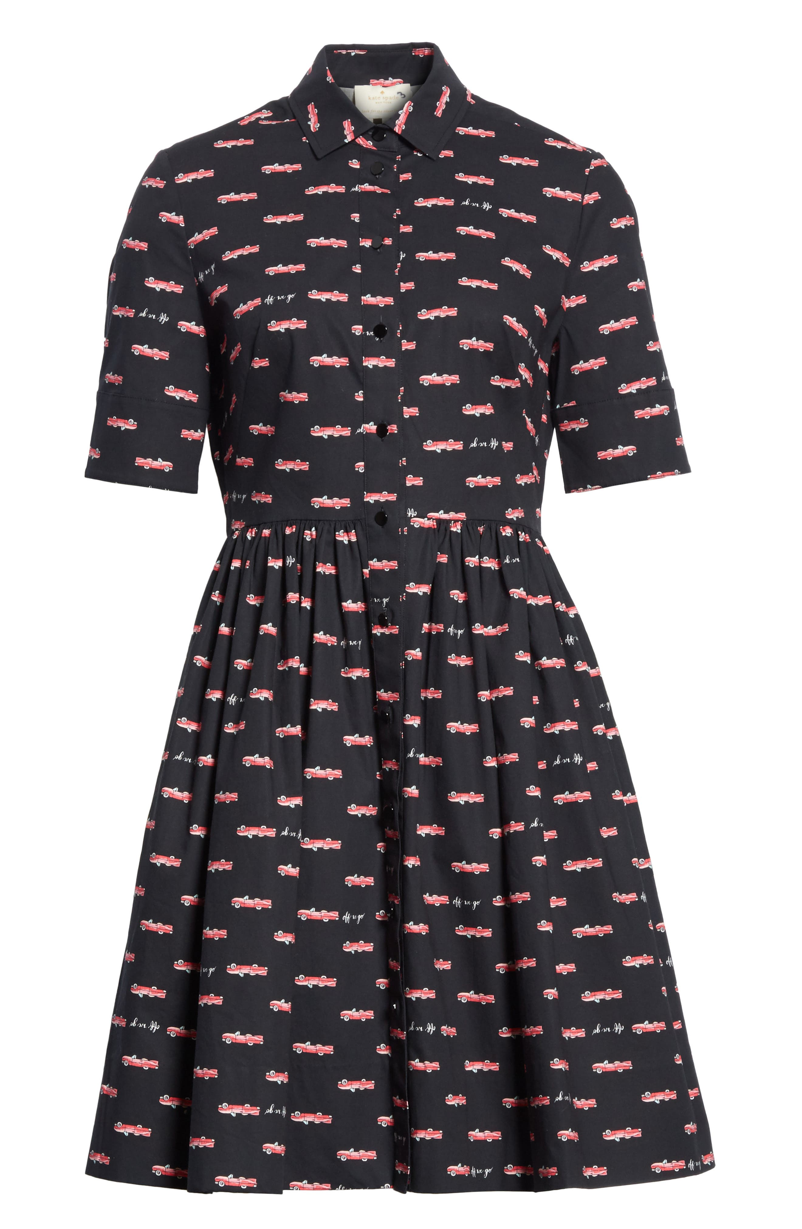 kate spade hot rod poplin fit & flare dress,                             Alternate thumbnail 6, color,