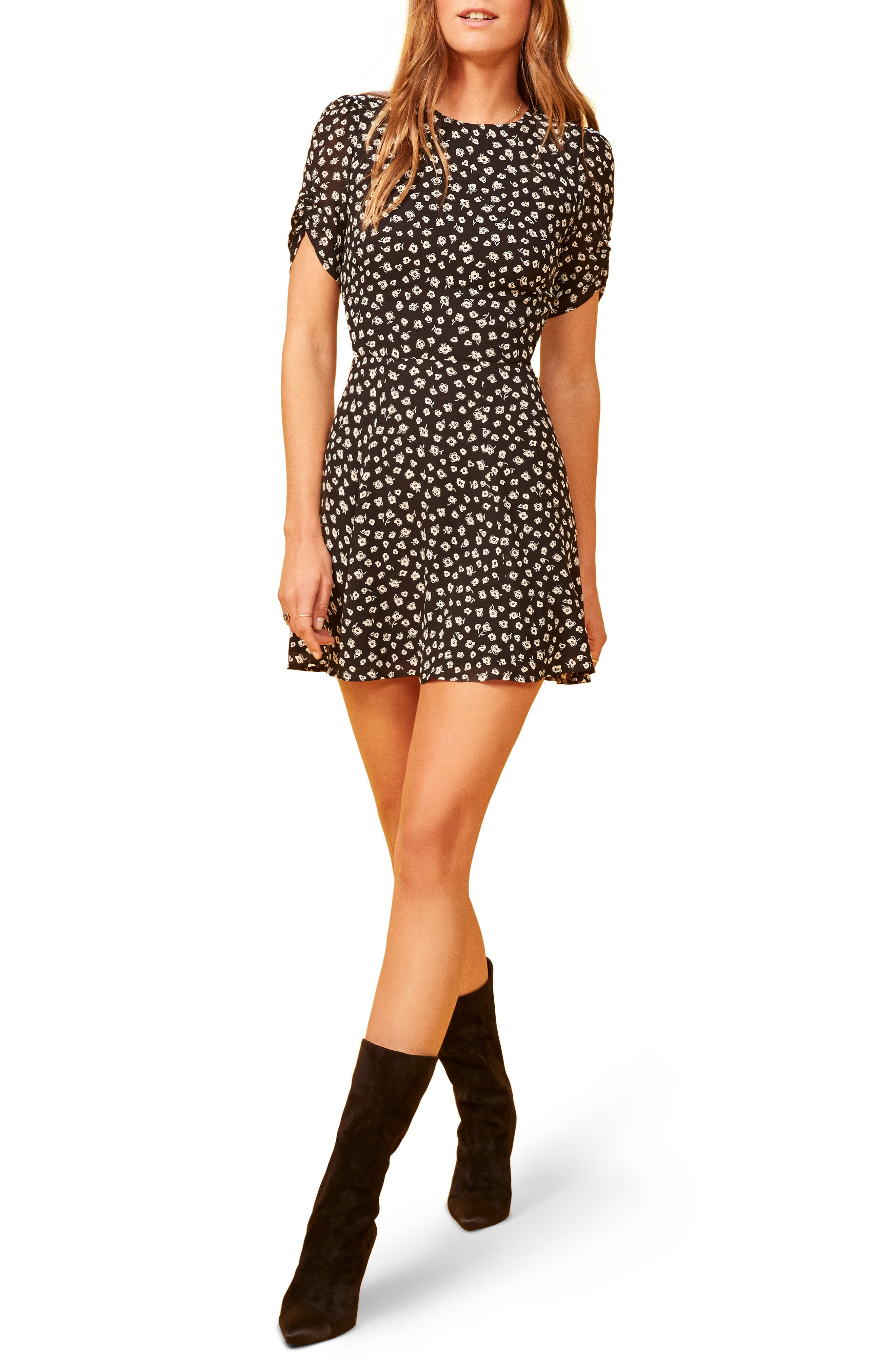 Gracie Ruched Sleeve Minidress,                             Main thumbnail 1, color,                             VERMONT