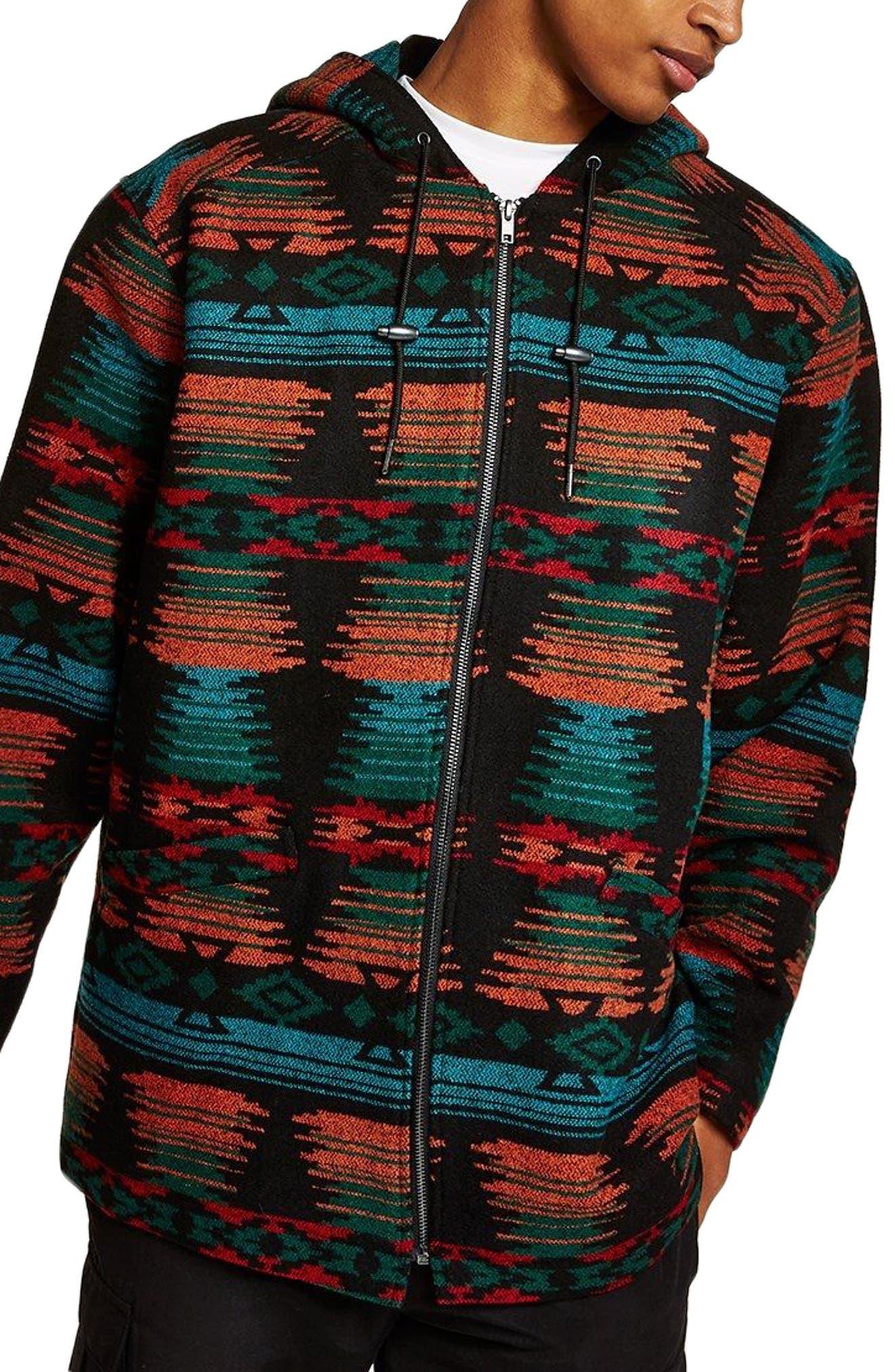 Jacquard Hooded Jacket,                         Main,                         color, BLACK MULTI