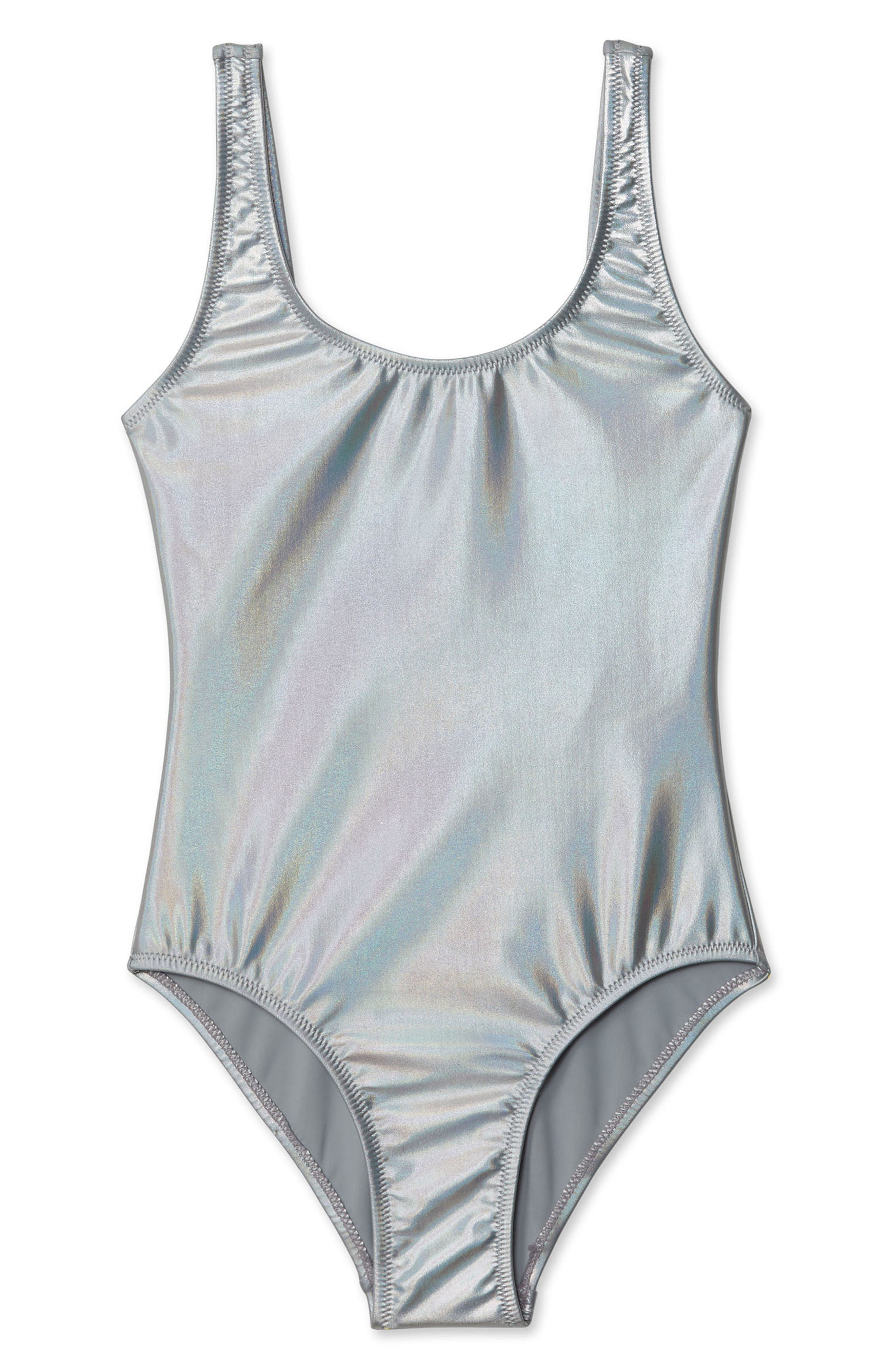 One-Piece Swimsuit,                         Main,                         color, SILVER