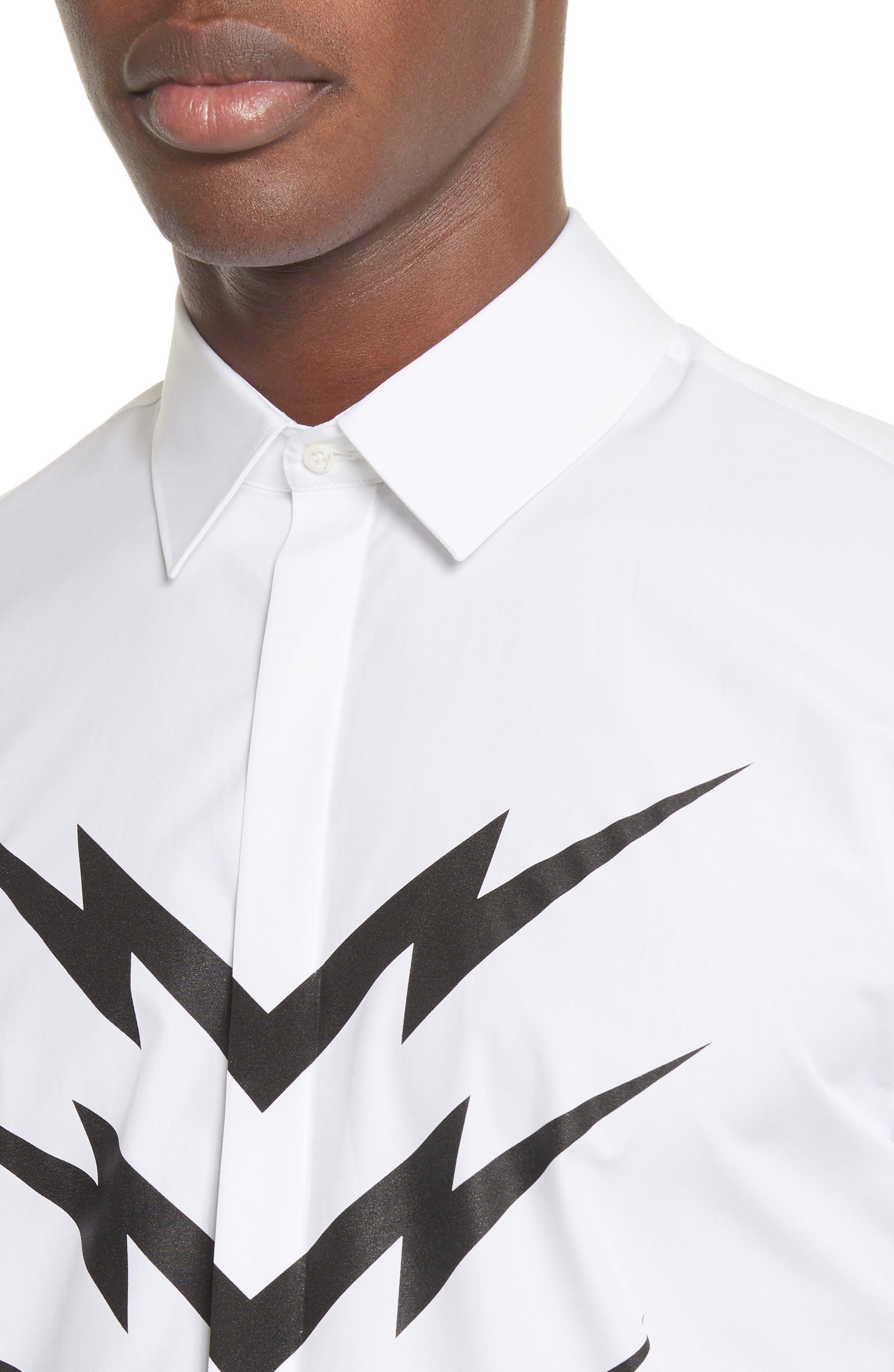 Lightning Bolt Print Sport Shirt,                             Alternate thumbnail 5, color,                             100