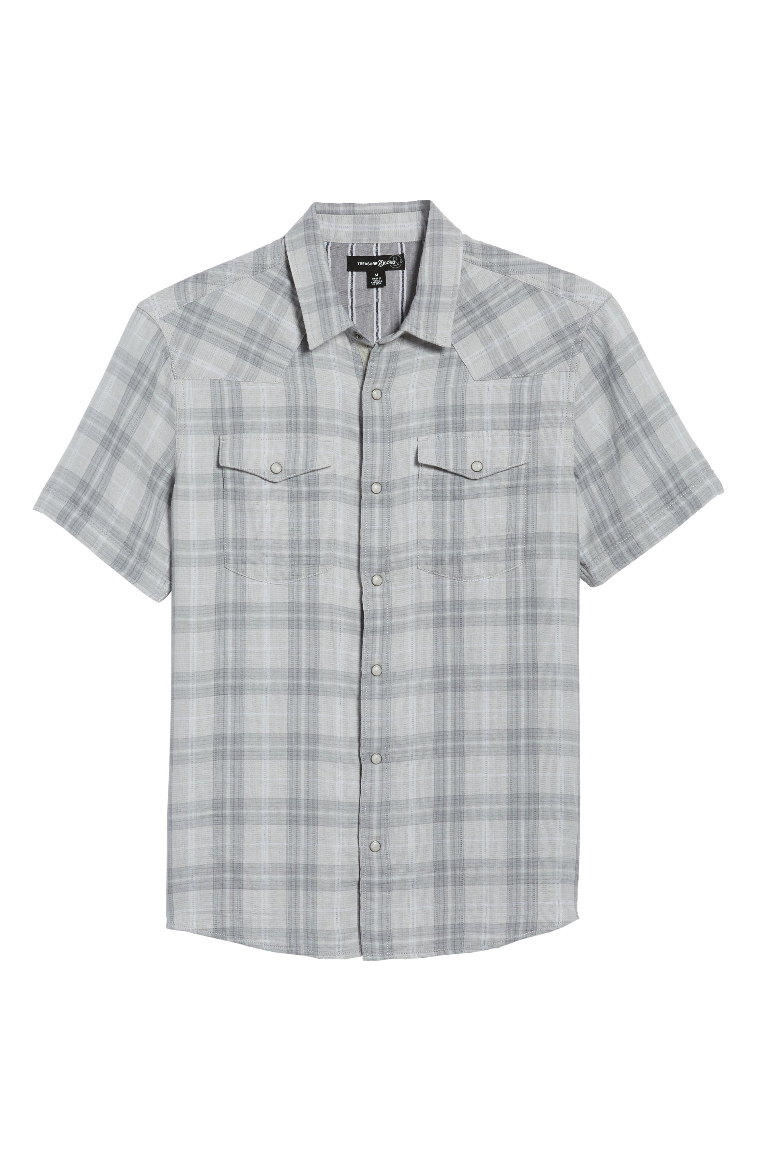 Plaid Short Sleeve Sport Shirt,                             Alternate thumbnail 6, color,