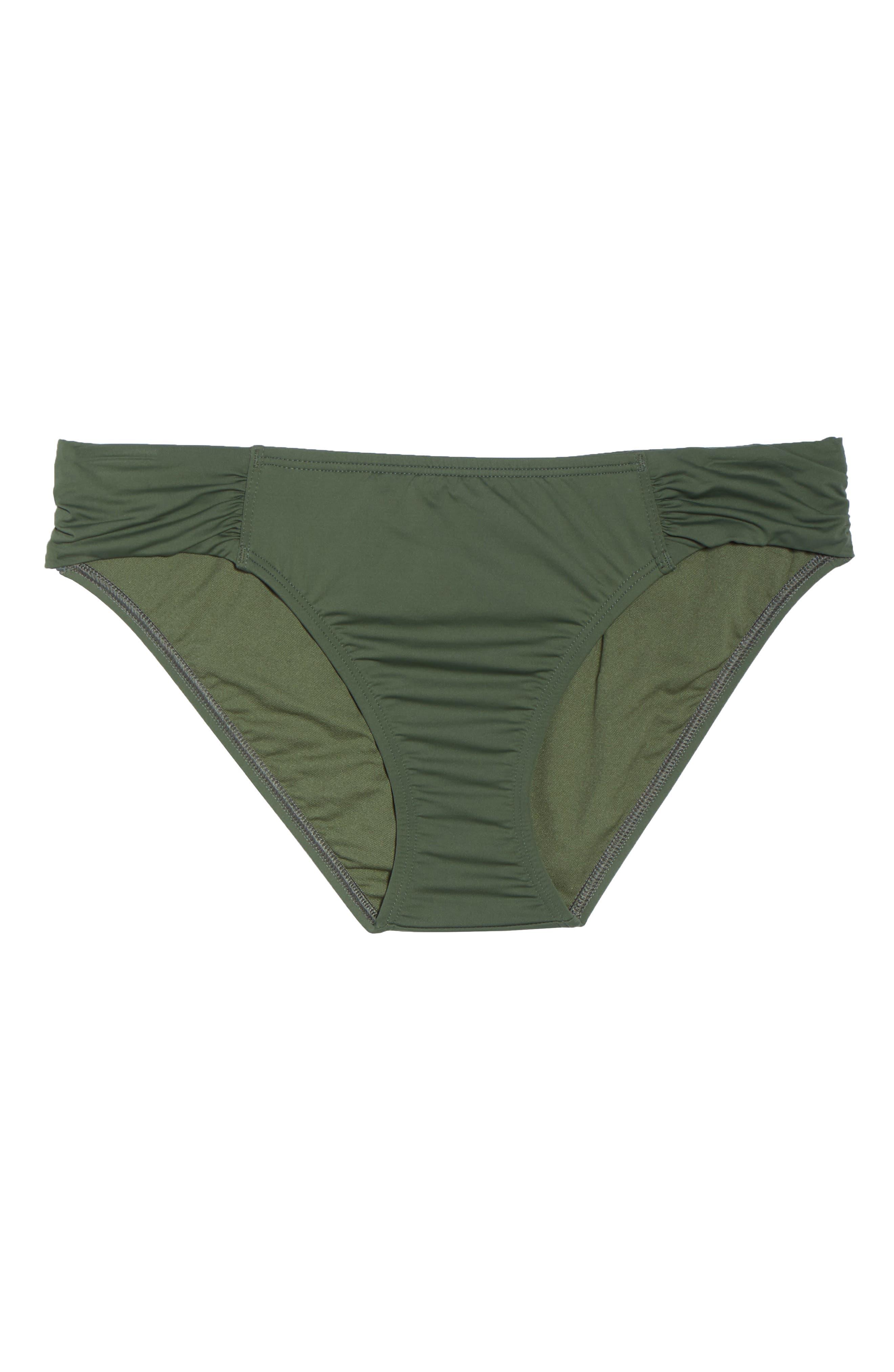 Side Shirred Hipster Bikini Bottoms,                             Alternate thumbnail 6, color,                             DARK TEA LEAF