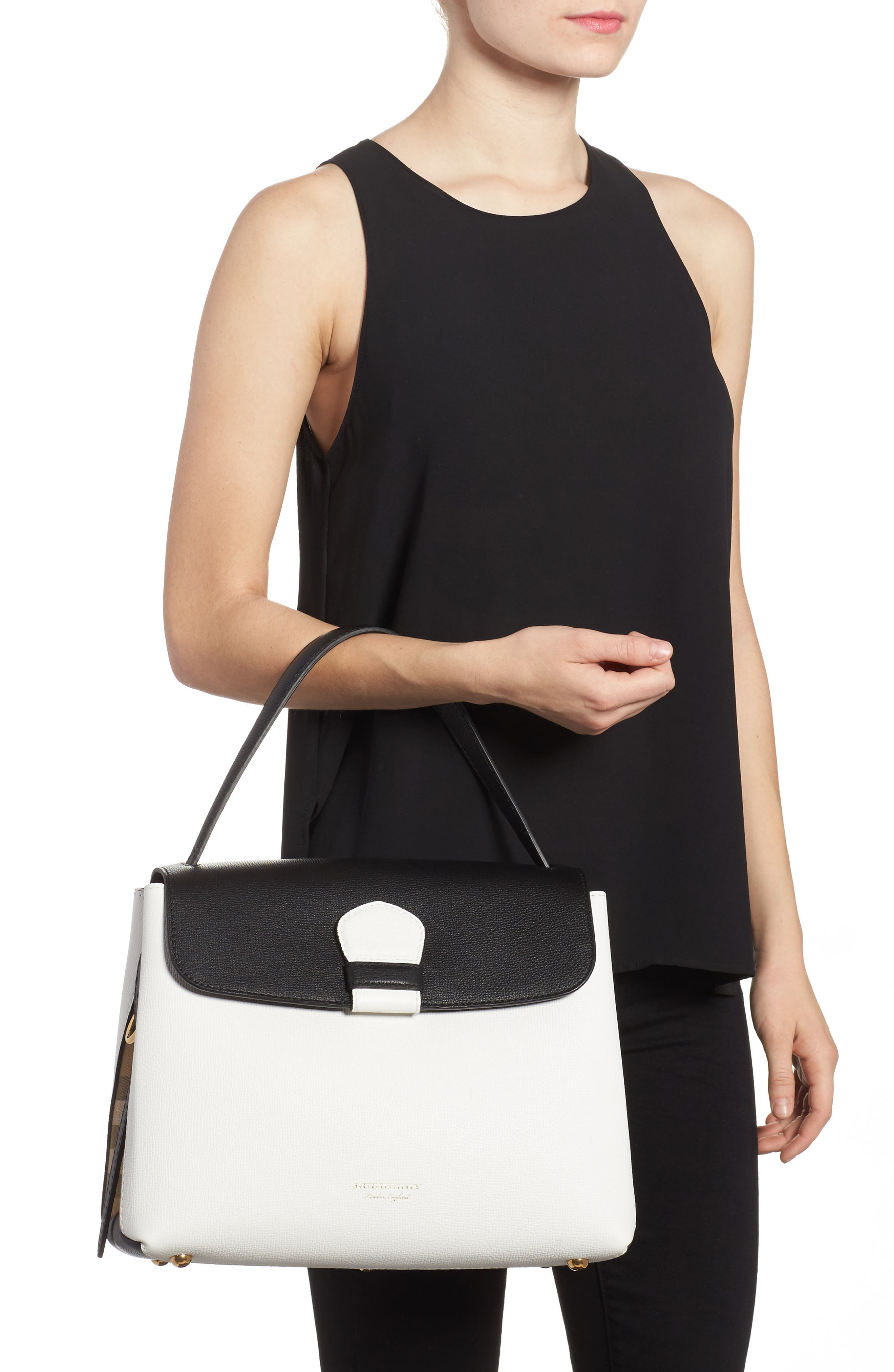 Medium Camberley Colorblock Leather & House Check Top Handle Satchel,                             Alternate thumbnail 2, color,                             WHITE/ BLACK