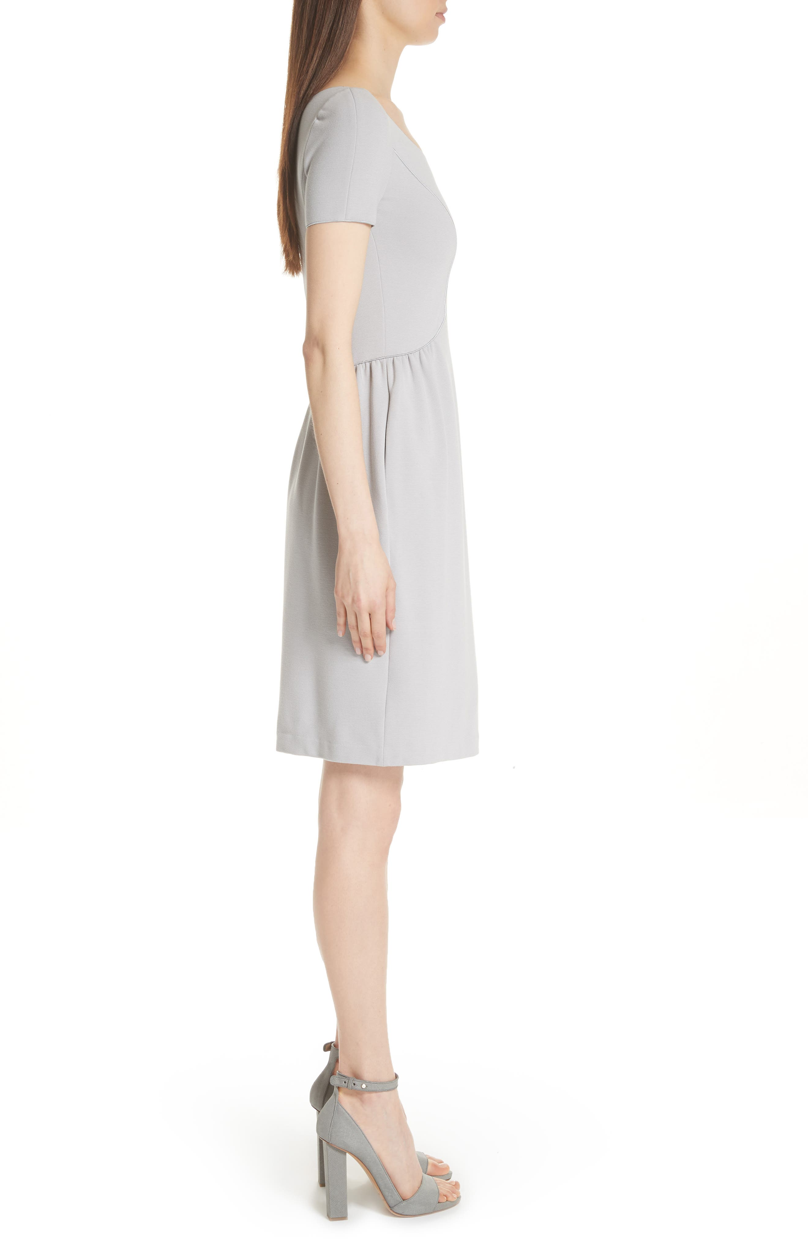 Seamed Ribbed Dress,                             Alternate thumbnail 3, color,                             PEARL GREY
