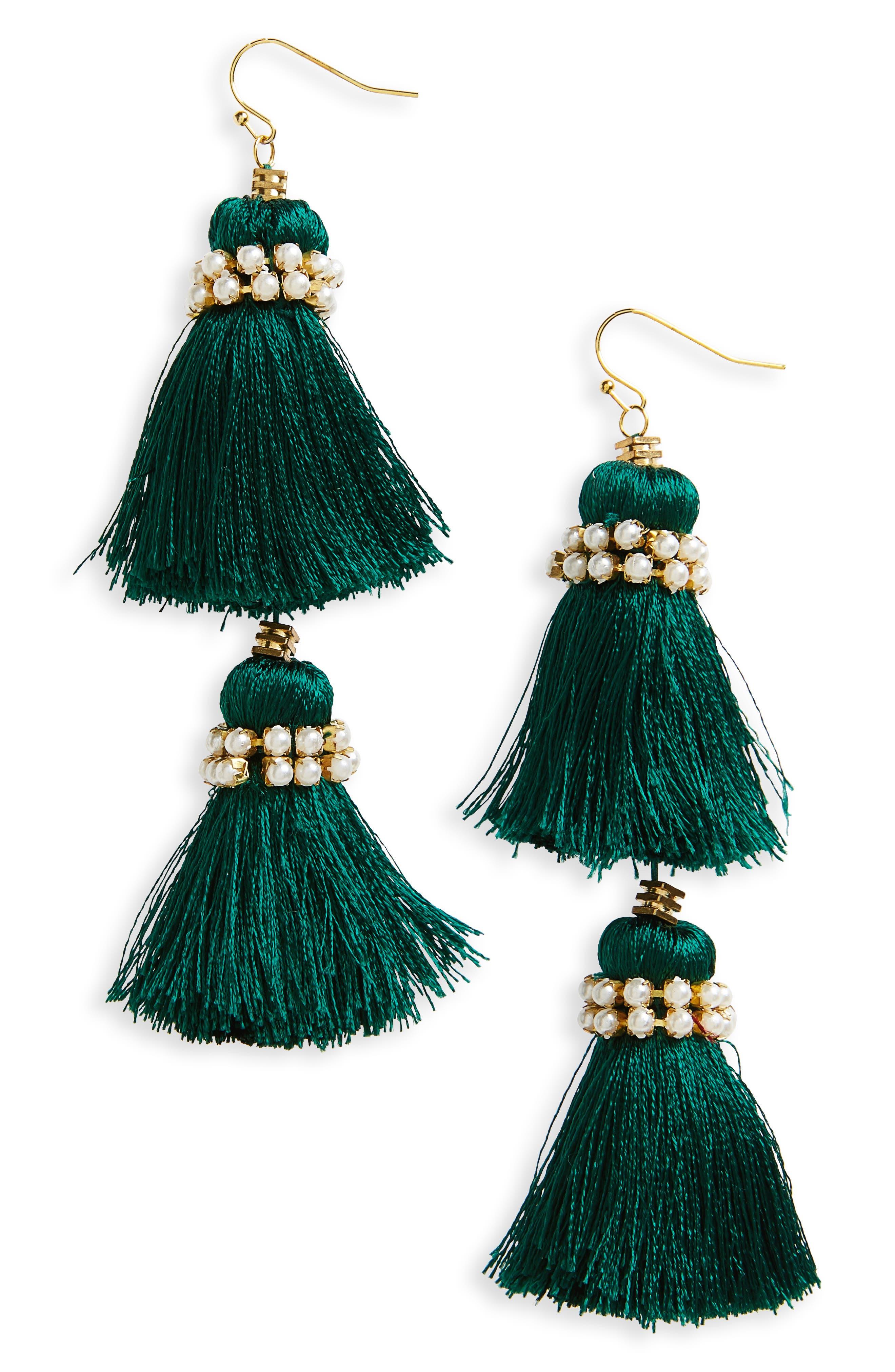 Imitation Pearl & Tassel Earrings,                         Main,                         color, 300