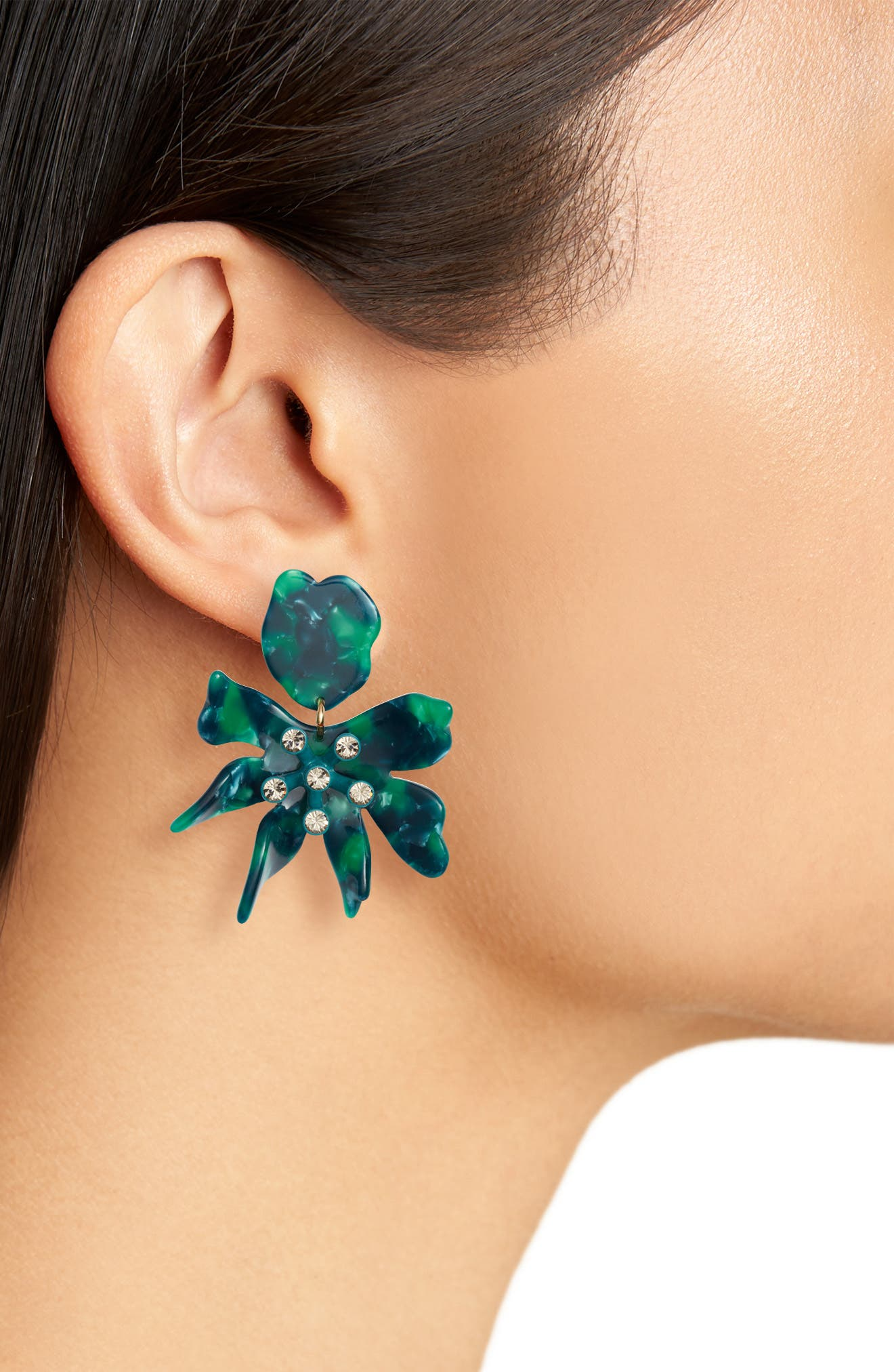 Daffodil Clip Drop Earrings,                             Alternate thumbnail 2, color,                             EMERALD