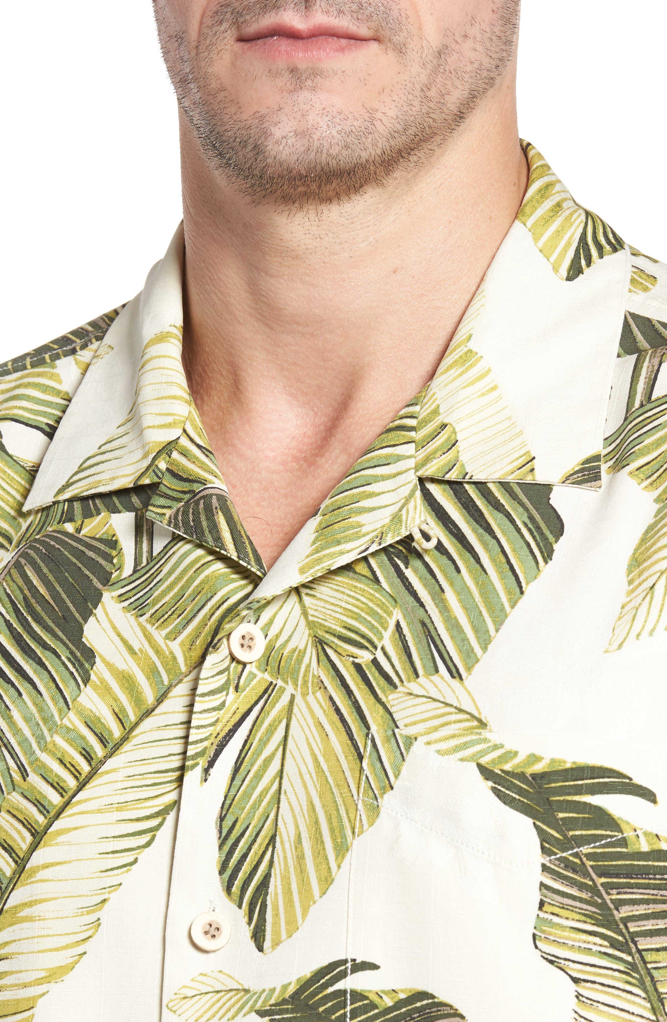 Cascara Fronds Classic Fit Silk Camp Shirt,                             Alternate thumbnail 4, color,                             100