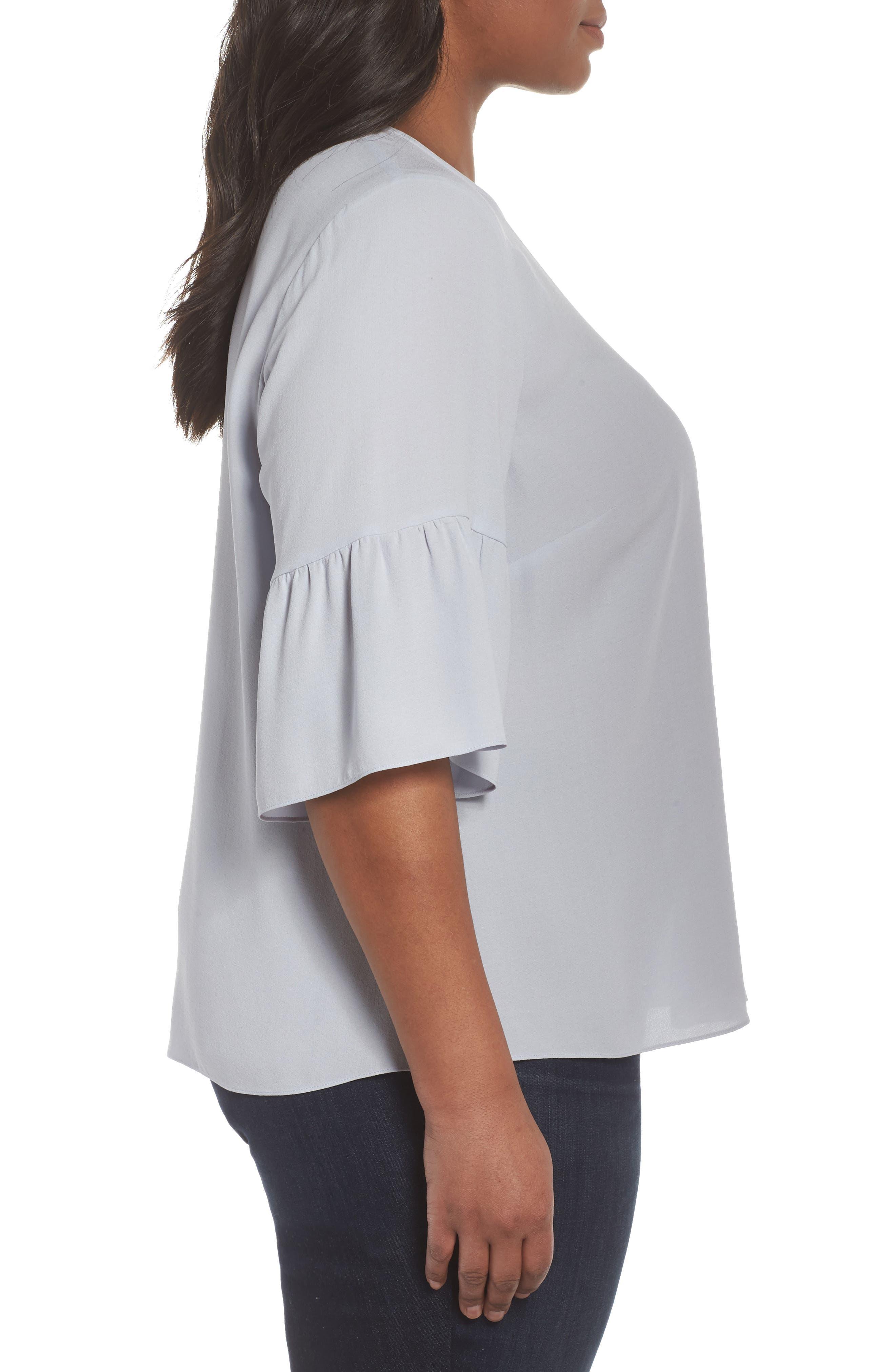 Ruffled Sleeve Silk Top,                             Alternate thumbnail 9, color,