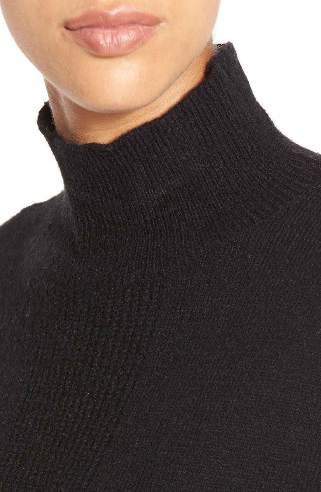 Pattern Front Mock Neck Sweater,                             Alternate thumbnail 3, color,                             001
