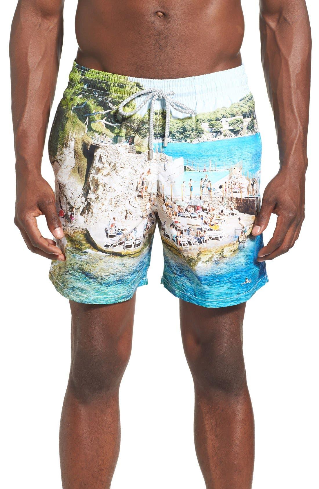 'Massimo Vitali Moorea' Swim Trunks,                             Main thumbnail 1, color,                             400