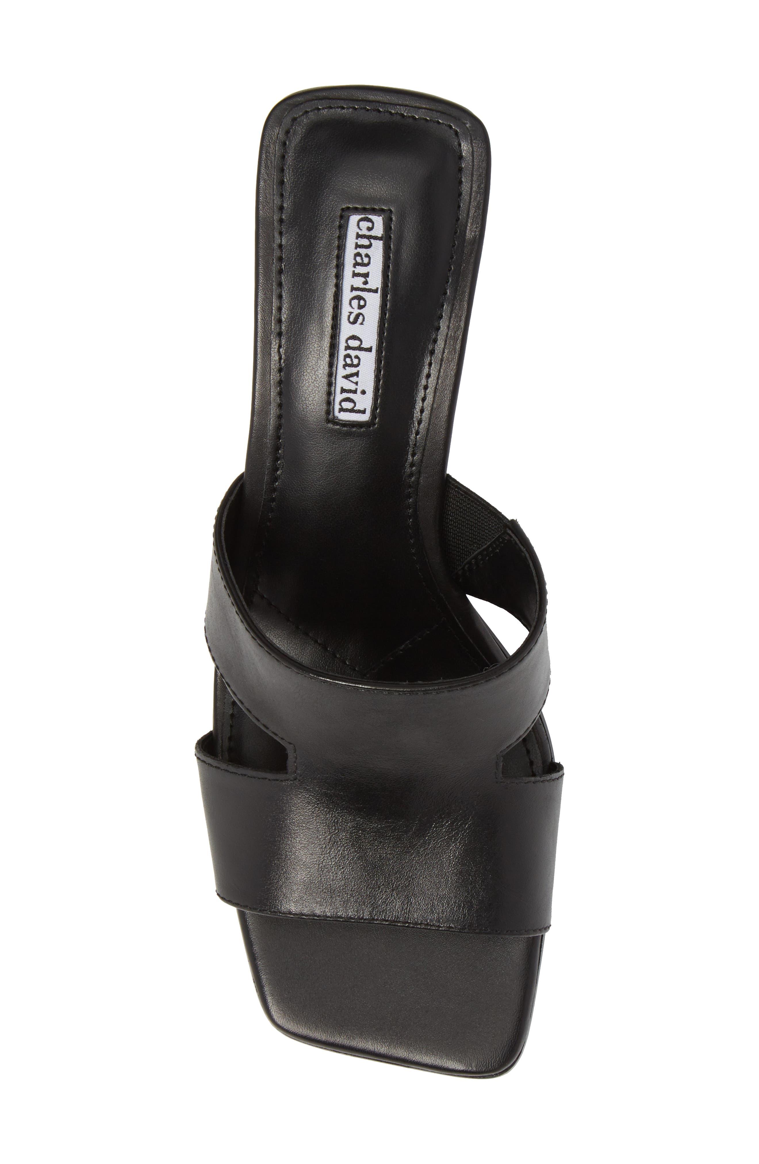 Harley Slide Sandal,                             Alternate thumbnail 5, color,                             BLACK LEATHER