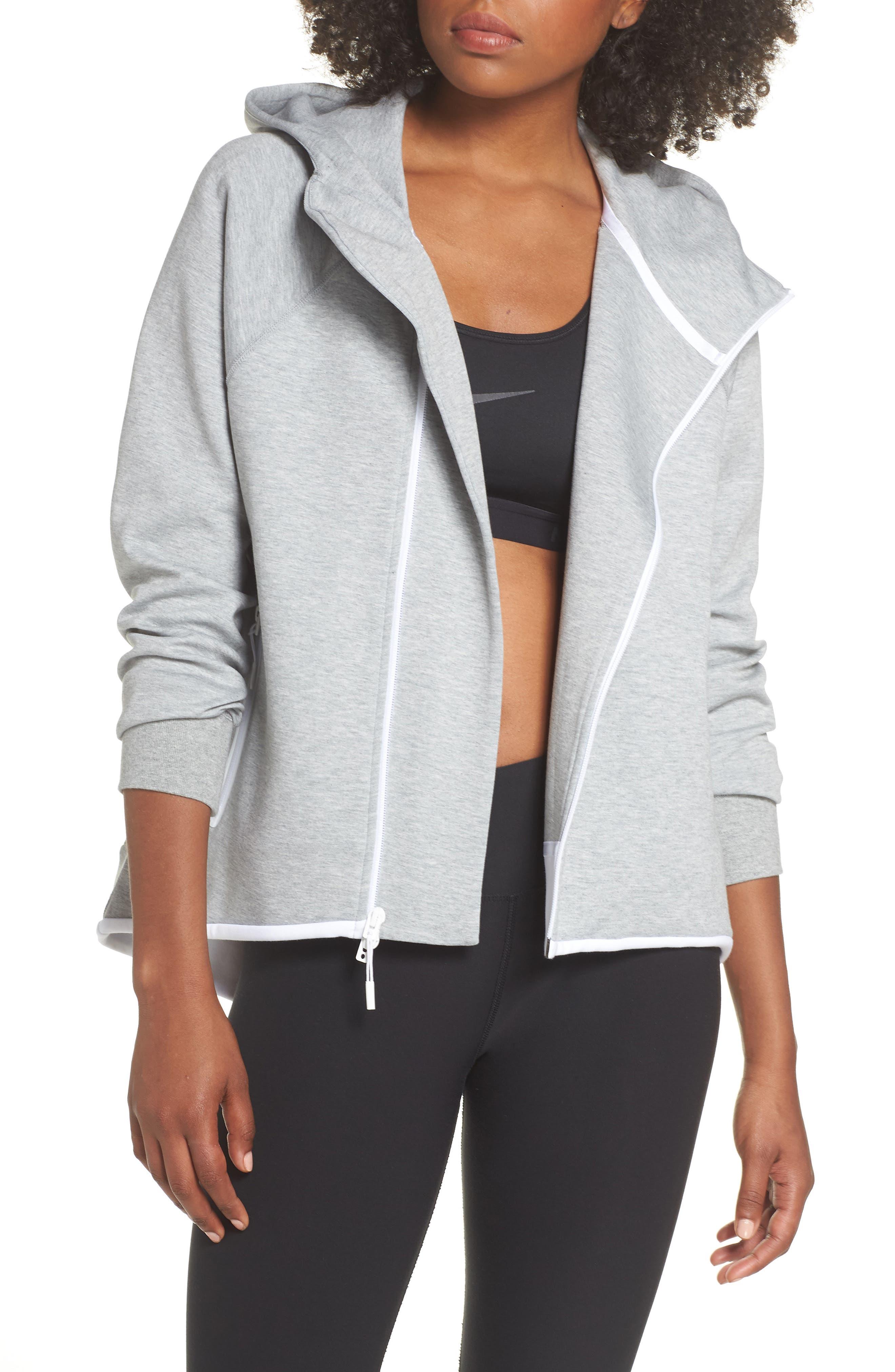 Sportswear Tech Fleece Cape Jacket,                         Main,                         color, DARK GREY HEATHER/ WHITE