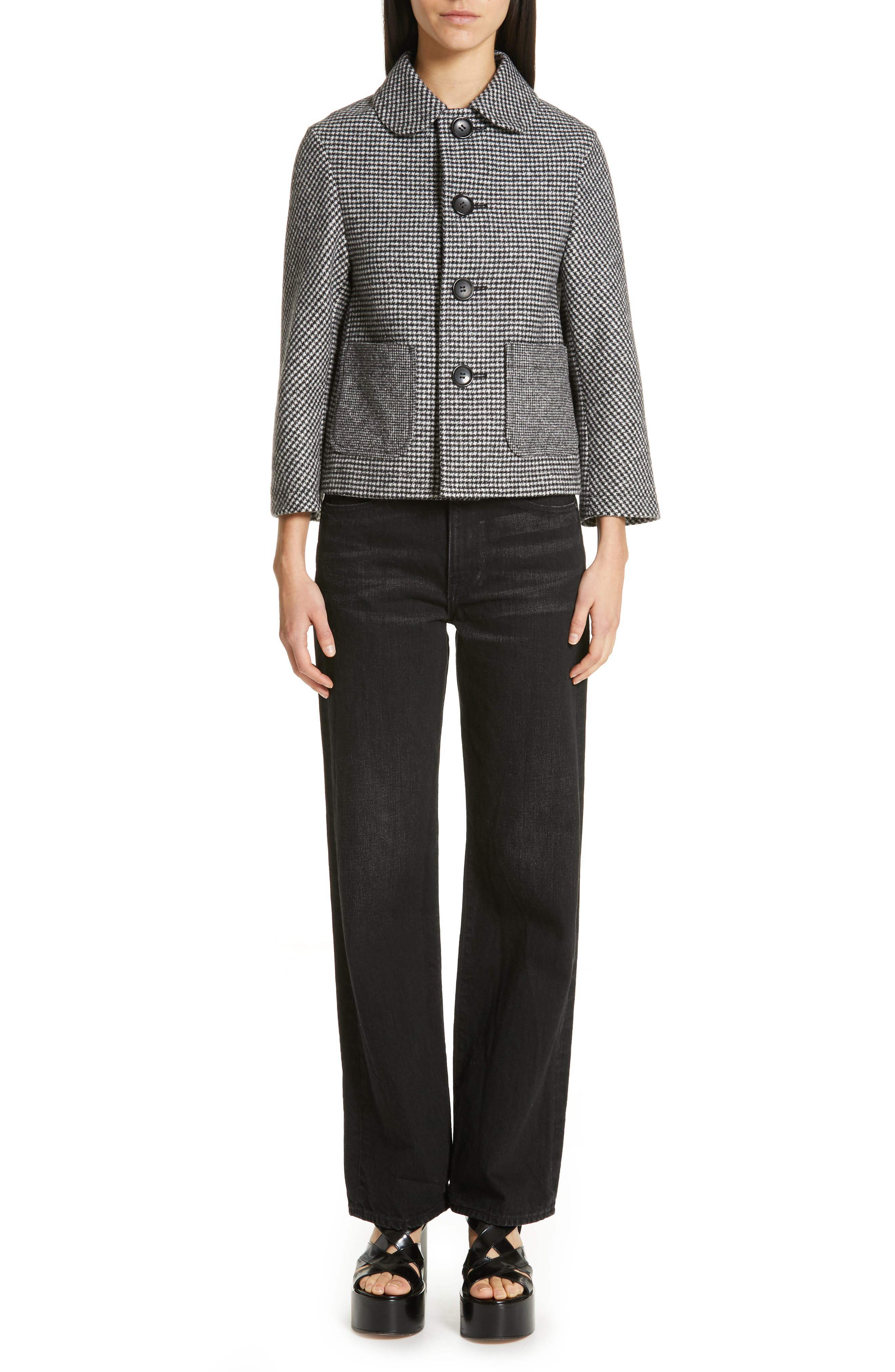 Houndstooth Crop Jacket,                             Alternate thumbnail 7, color,                             LARGE X SMALL