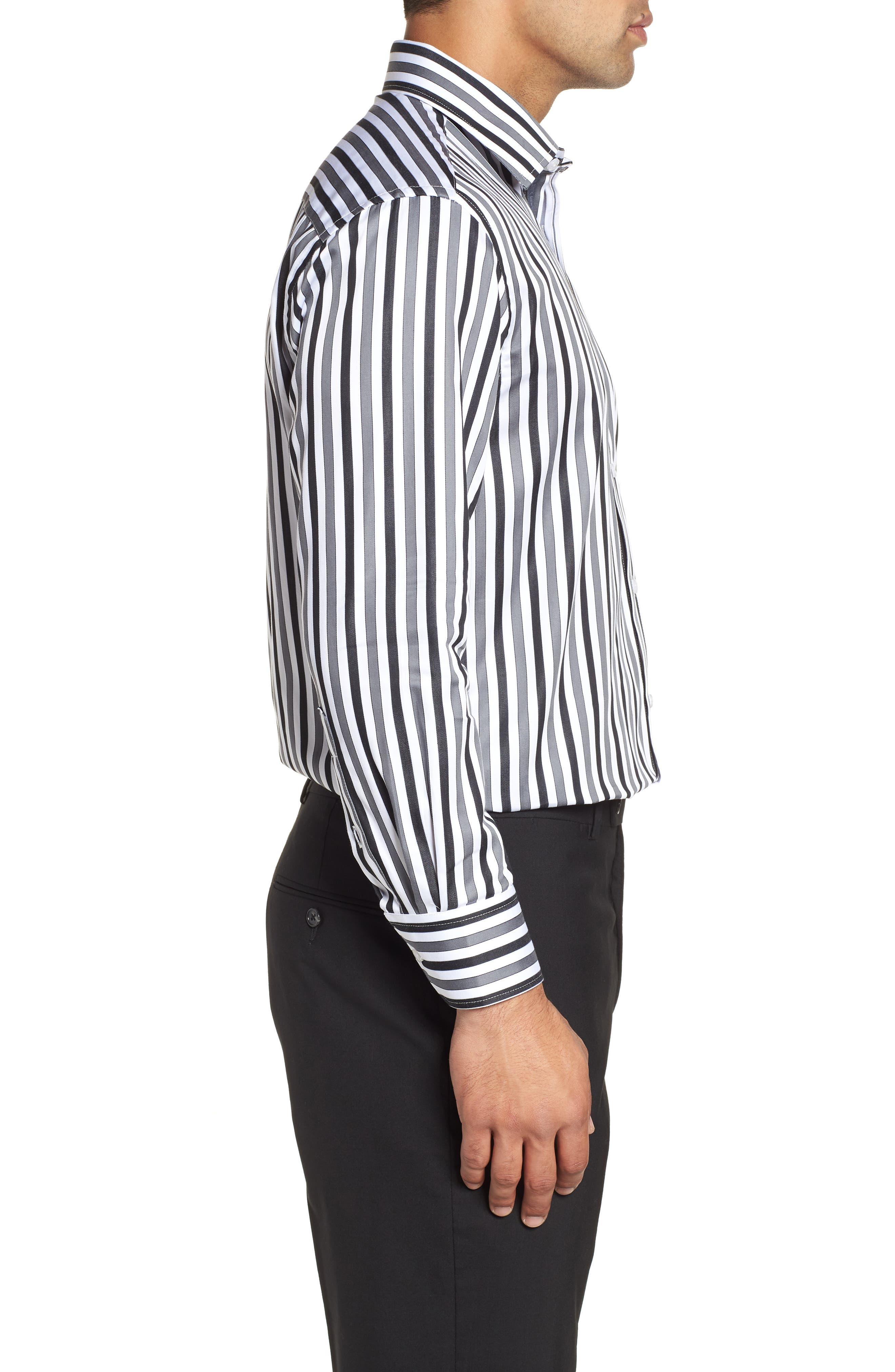 Regular Fit Stripe Dress Shirt,                             Alternate thumbnail 4, color,                             BLACK