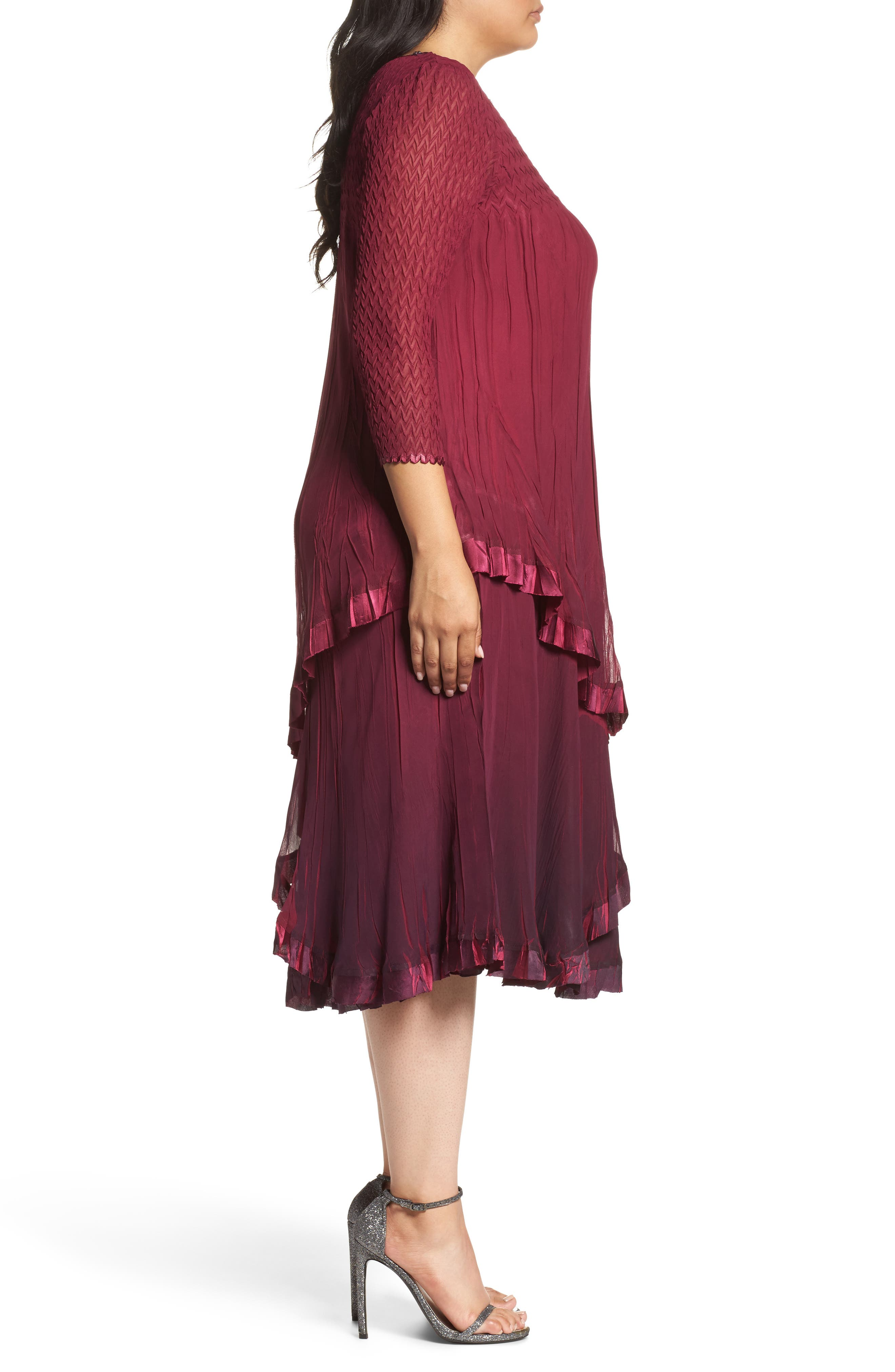 Tiered Ombrè Charmeuse & Chiffon Dress,                             Alternate thumbnail 3, color,                             644
