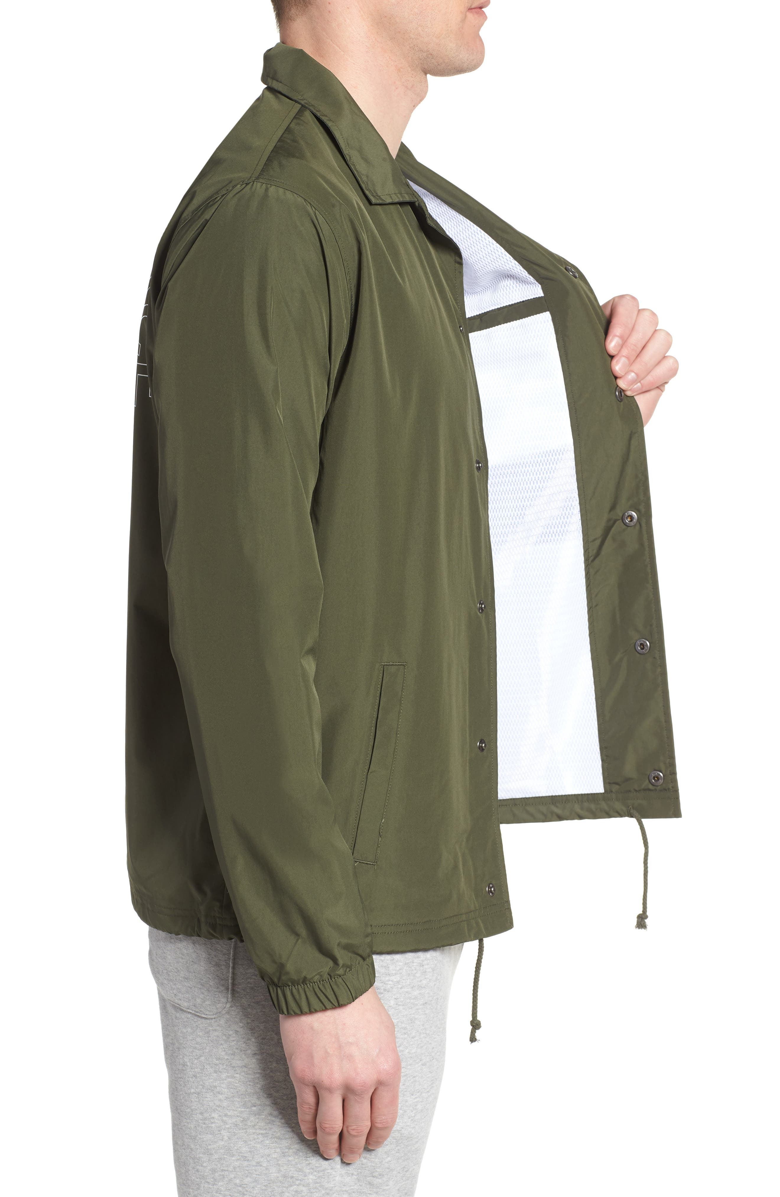 Classic Coach's Jacket,                             Alternate thumbnail 3, color,                             DARK COVERT GREEN